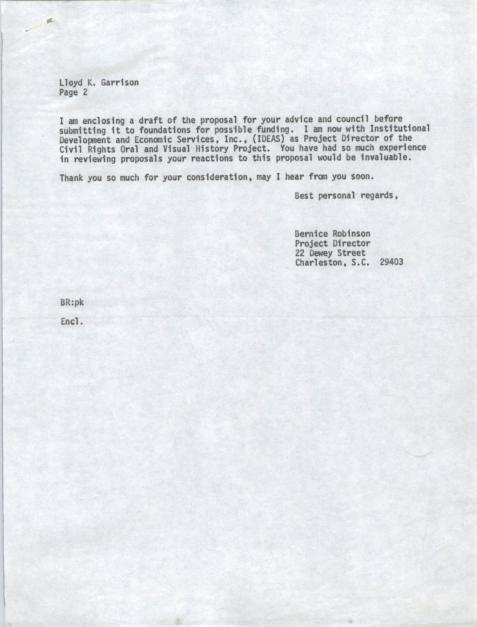 Letter from Bernice Robinson to Lloyd K. Garrison, May 4, 1973, Draft Page 2