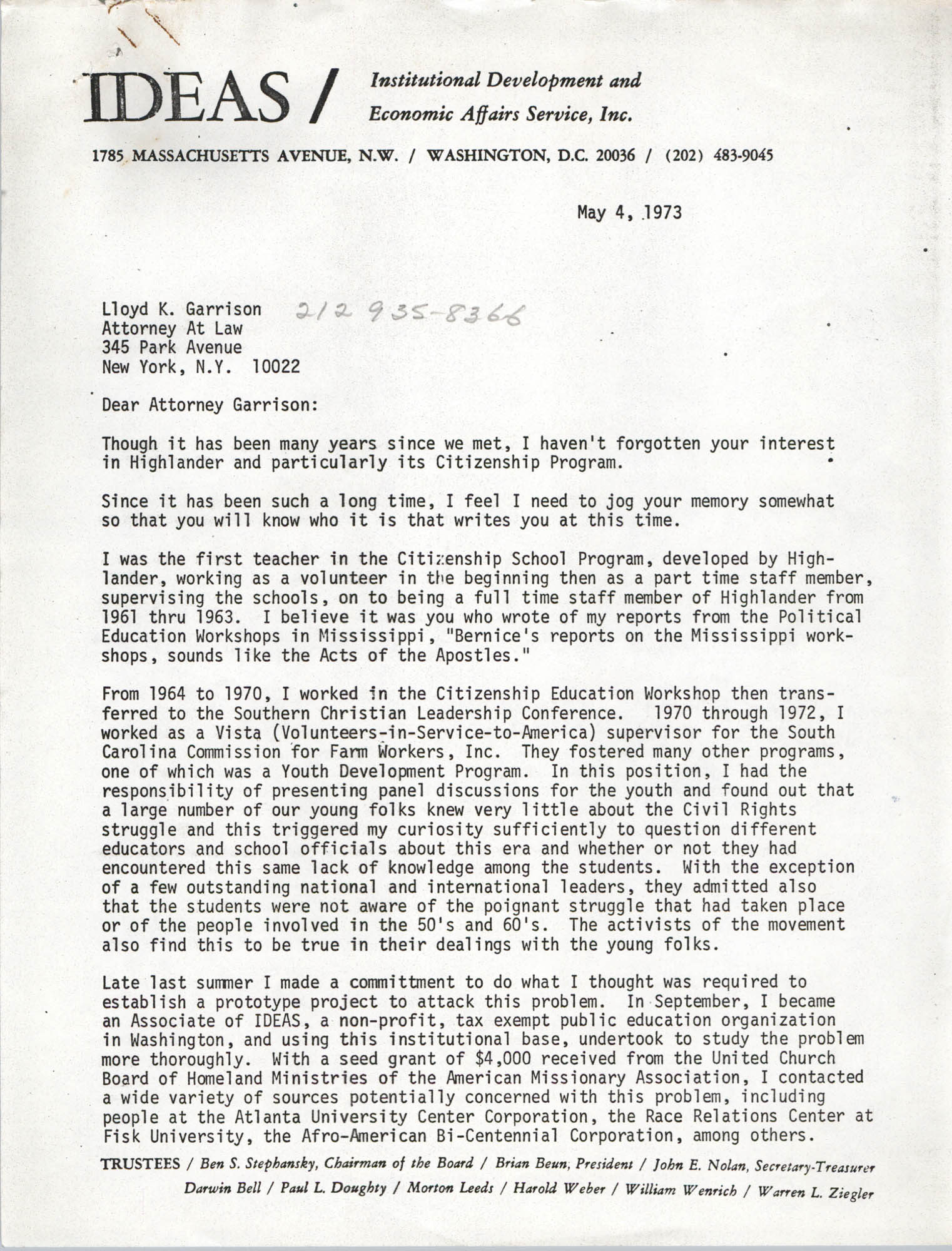 Letter from Bernice Robinson to Lloyd K. Garrison, May 4, 1973, Page 1