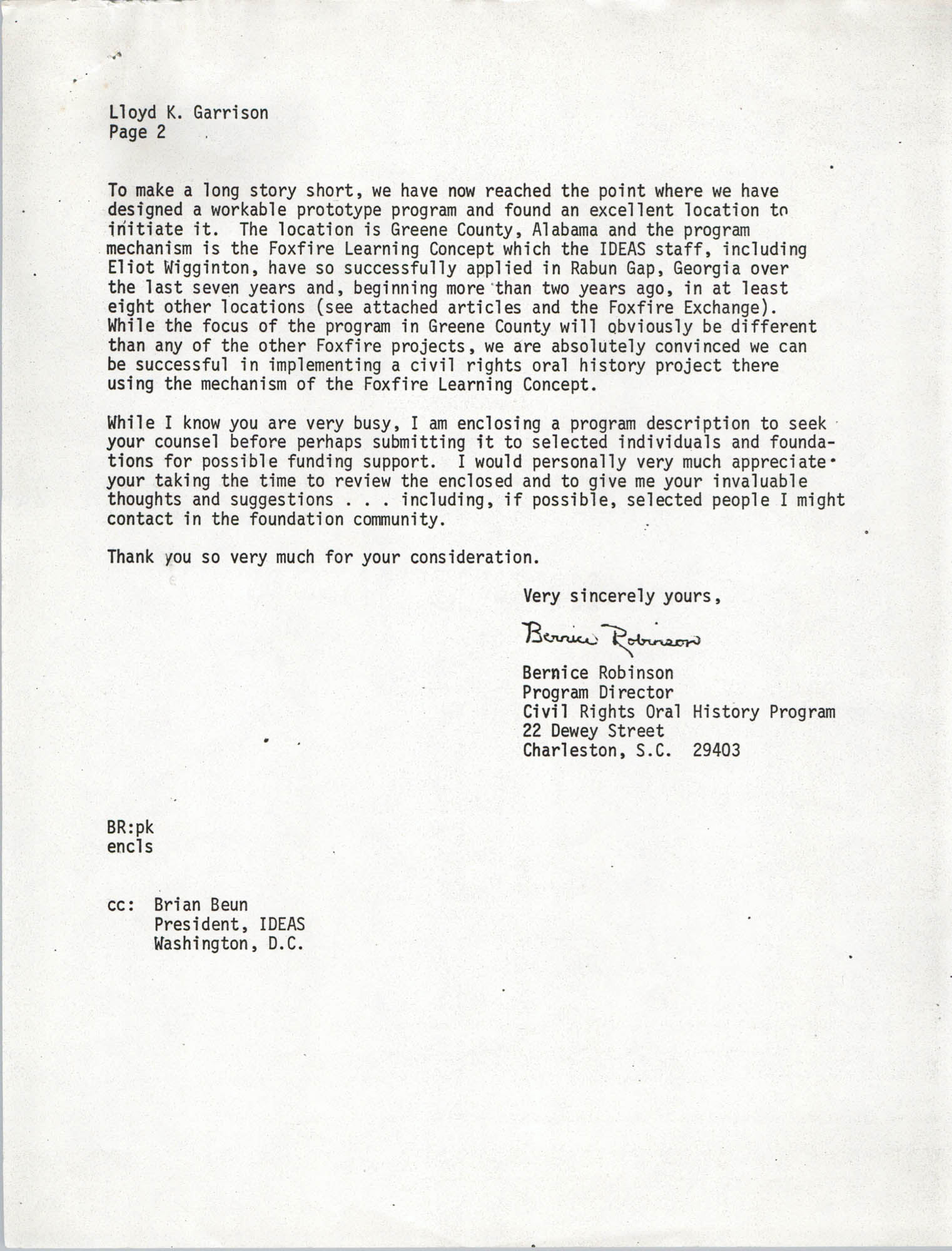 Letter from Bernice Robinson to Lloyd K. Garrison, May 4, 1973, Page 2