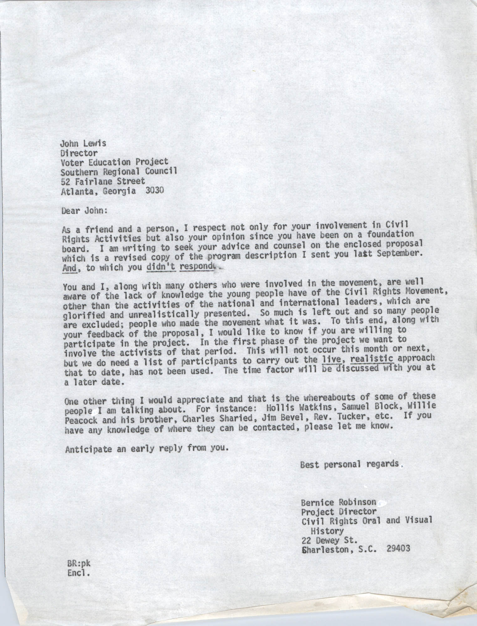 Letter from Bernice Robinson to John Lewis, May 8, 1973, Draft