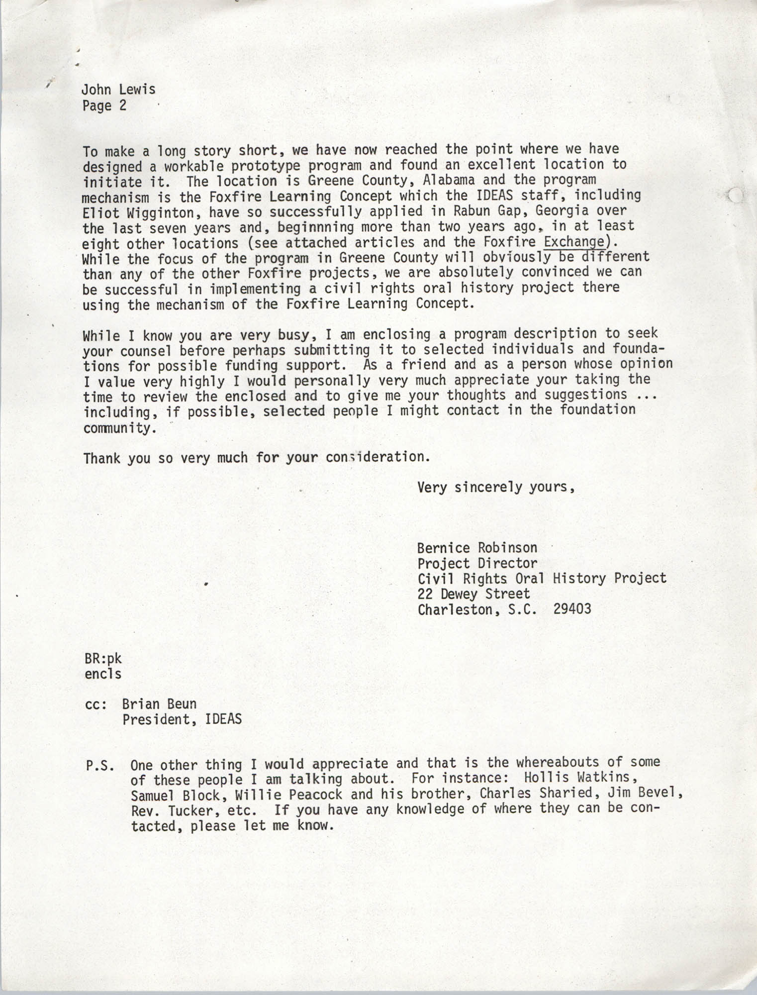 Letter from Bernice Robinson to John Lewis, May 8, 1973, Page 2