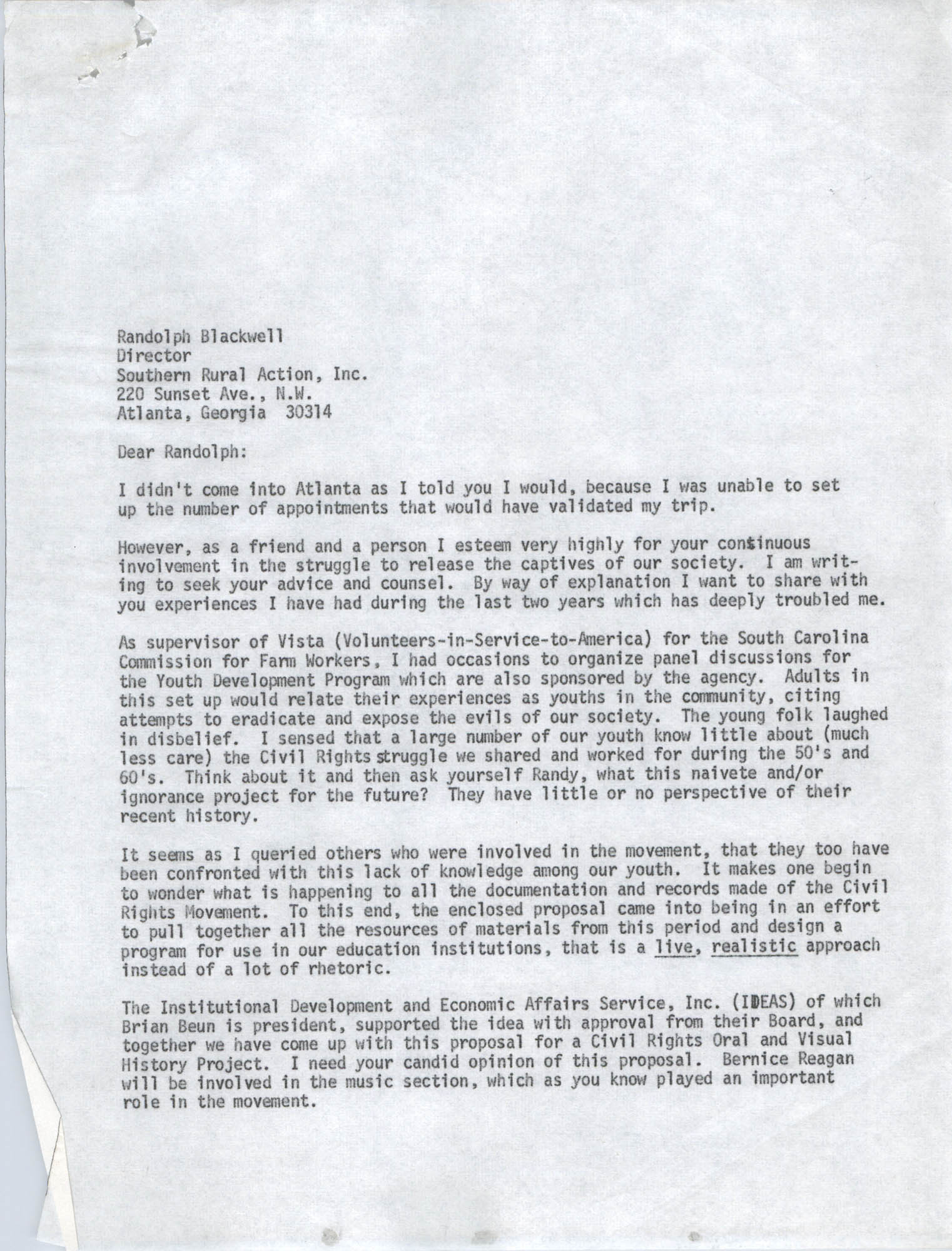 Letter from Bernice Robinson to Randolph Blackwell, May 7, 1973, Draft Page 1