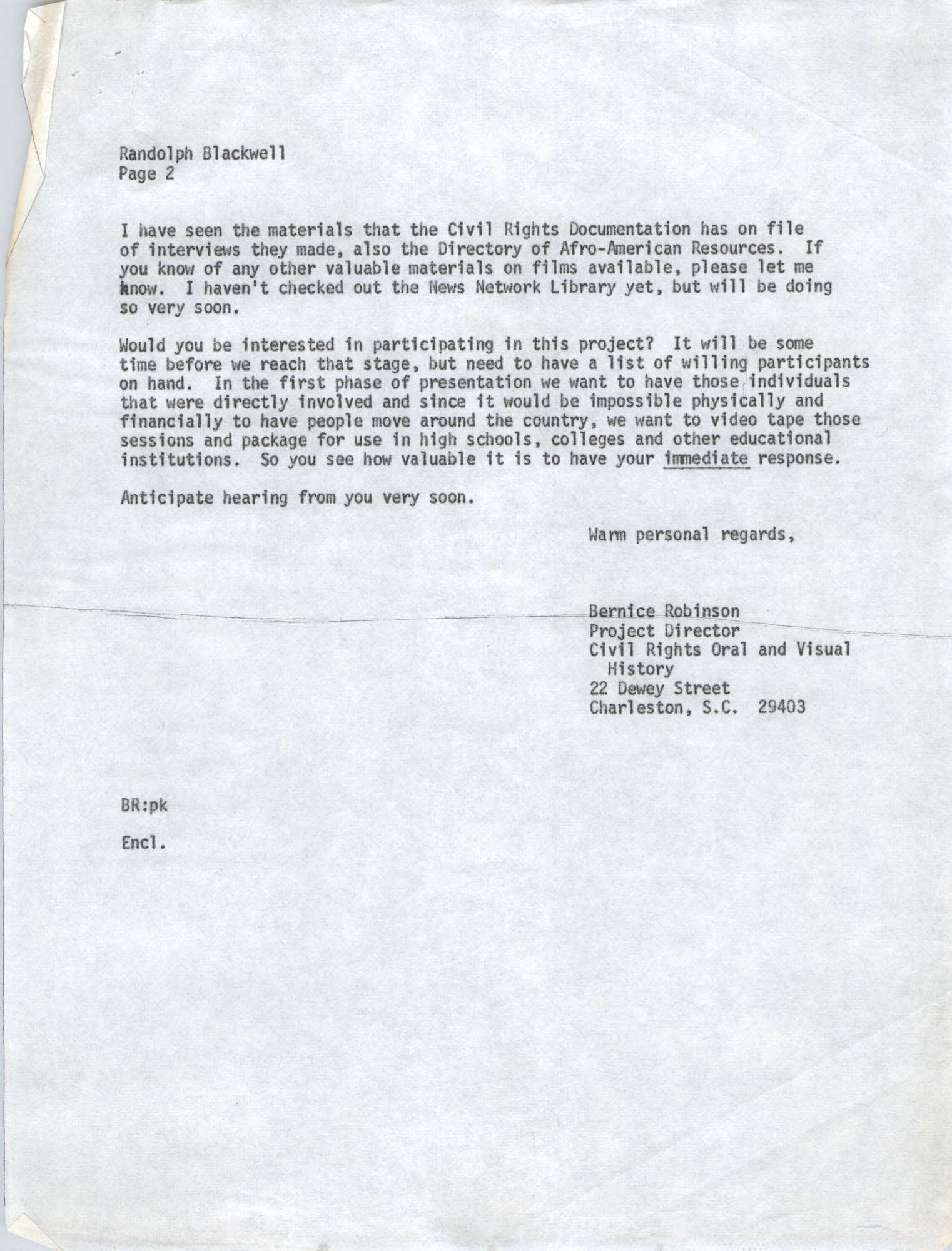 Letter from Bernice Robinson to Randolph Blackwell, May 7, 1973, Draft Page 2