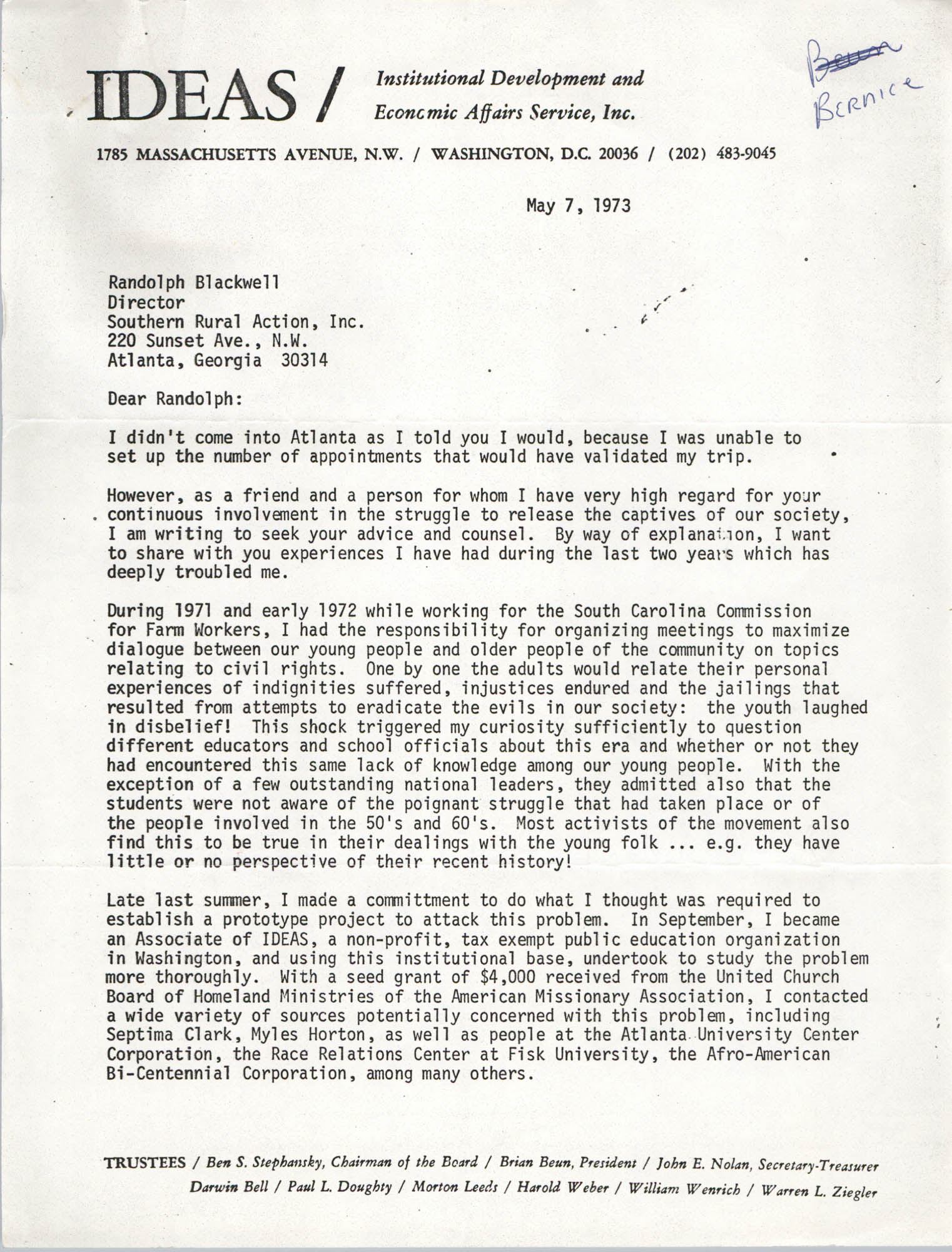 Letter from Bernice Robinson to Randolph Blackwell, May 7, 1973, Page 1
