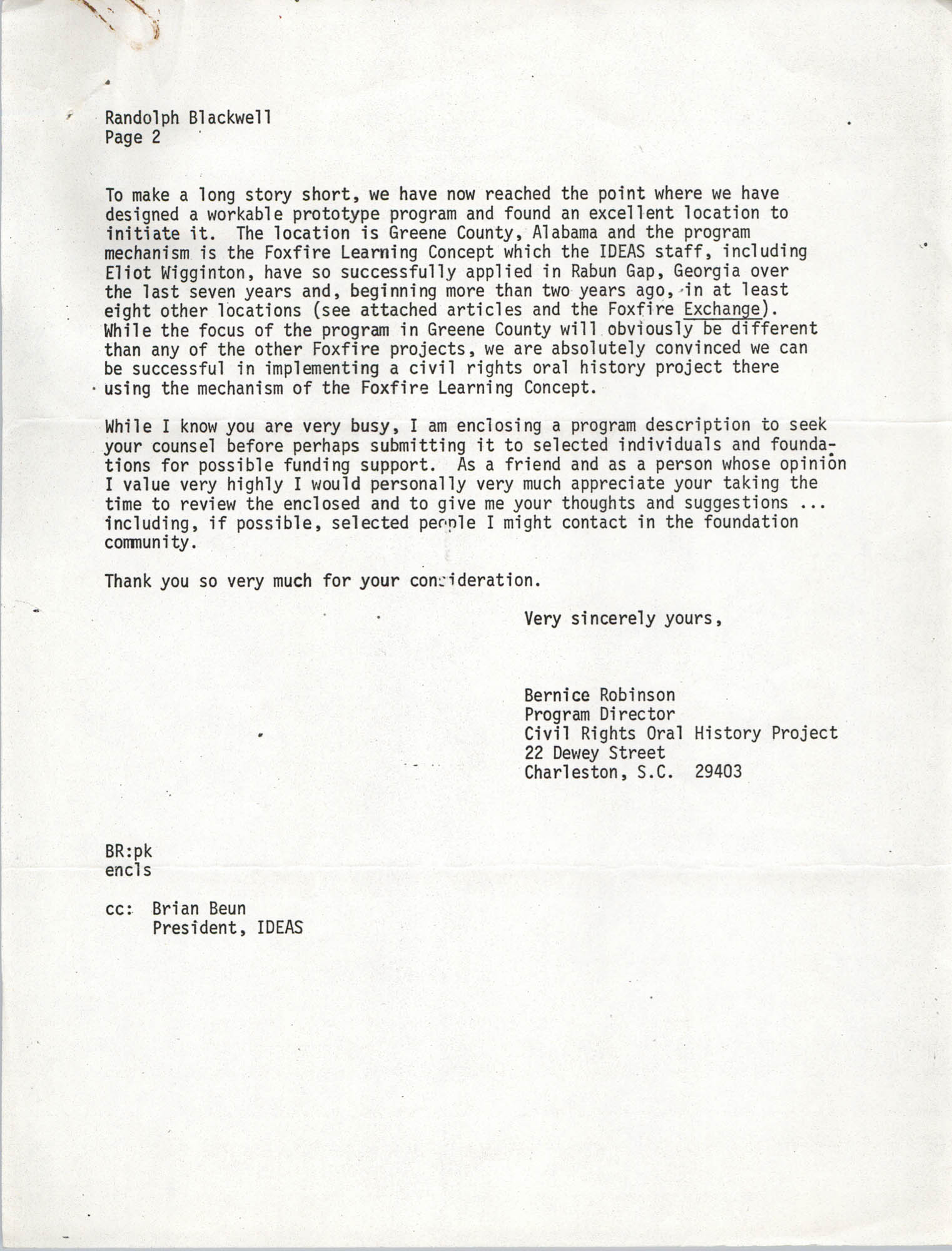 Letter from Bernice Robinson to Randolph Blackwell, May 7, 1973, Page 2