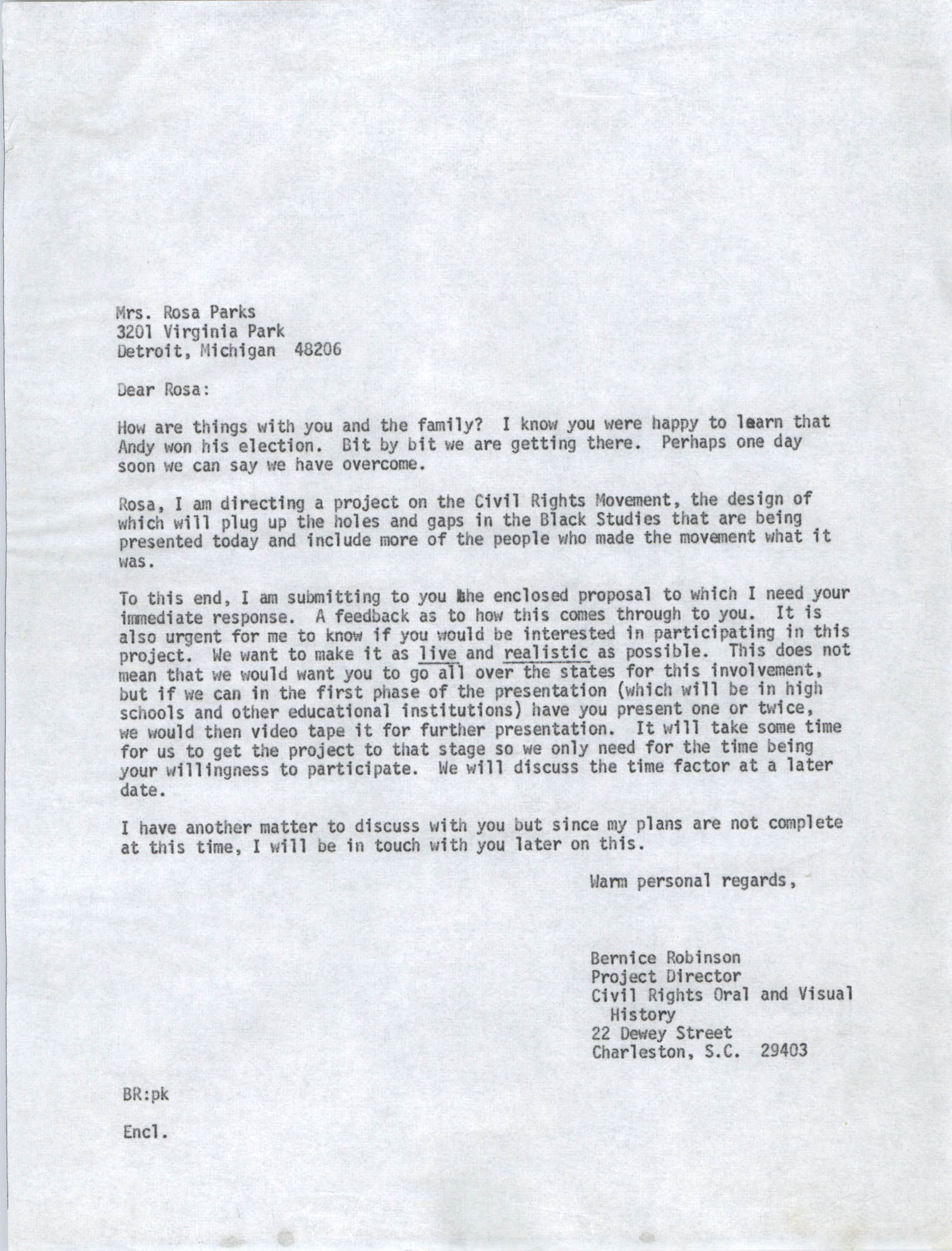 Letter from Bernice Robinson to Rosa Parks, May 8, 1973, Draft