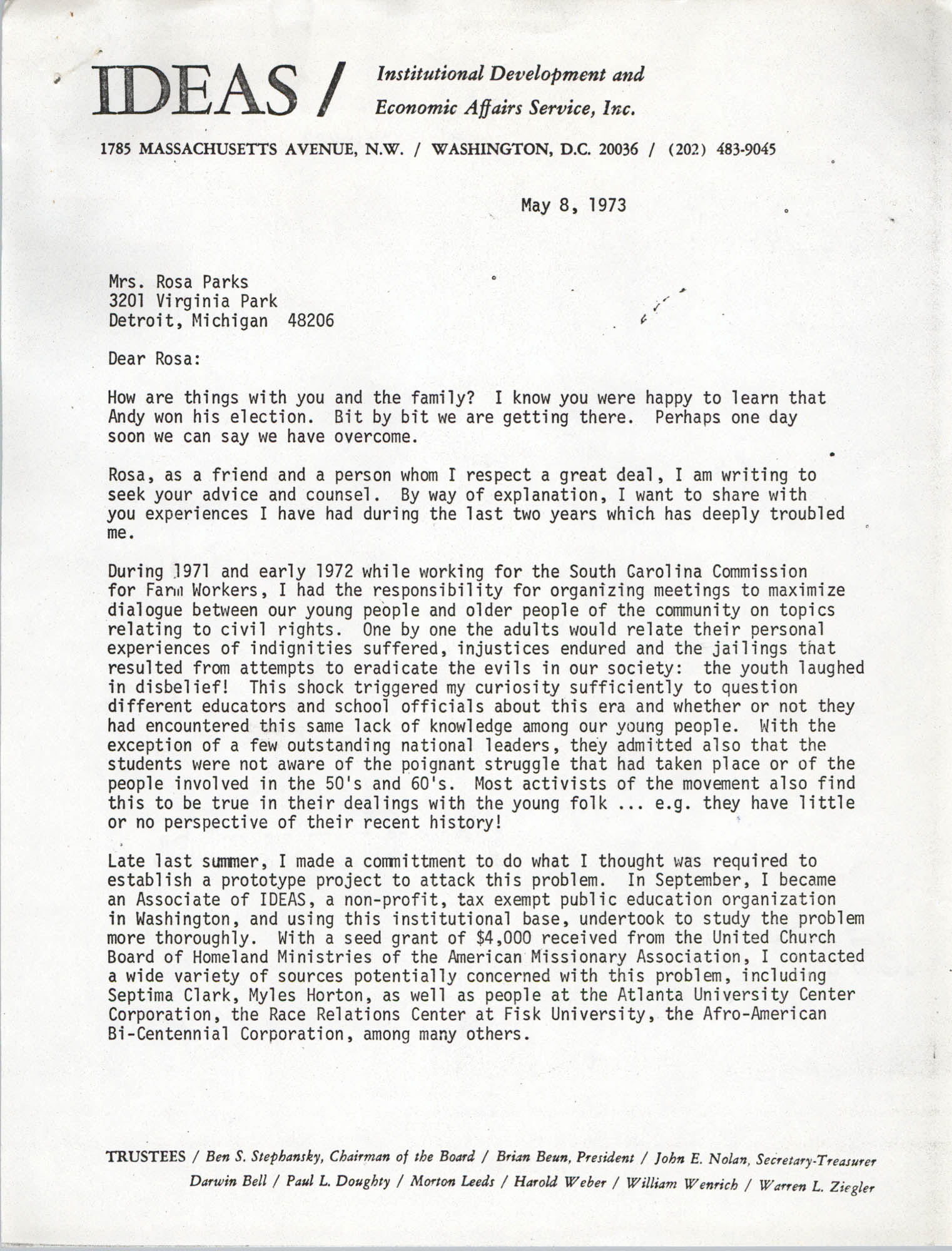 Letter from Bernice Robinson to Rosa Parks, May 8, 1973, Page 1