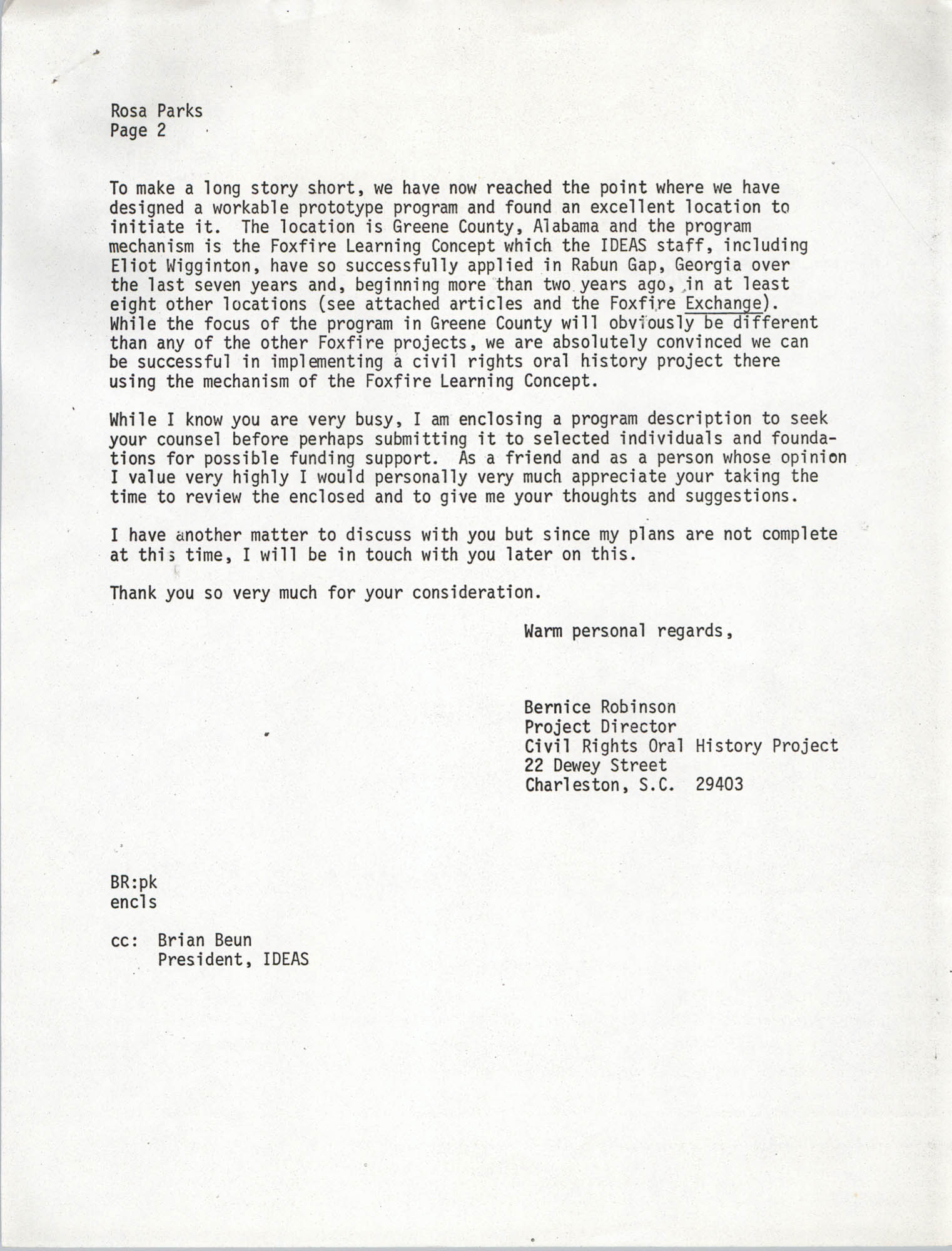 Letter from Bernice Robinson to Rosa Parks, May 8, 1973, Page 2