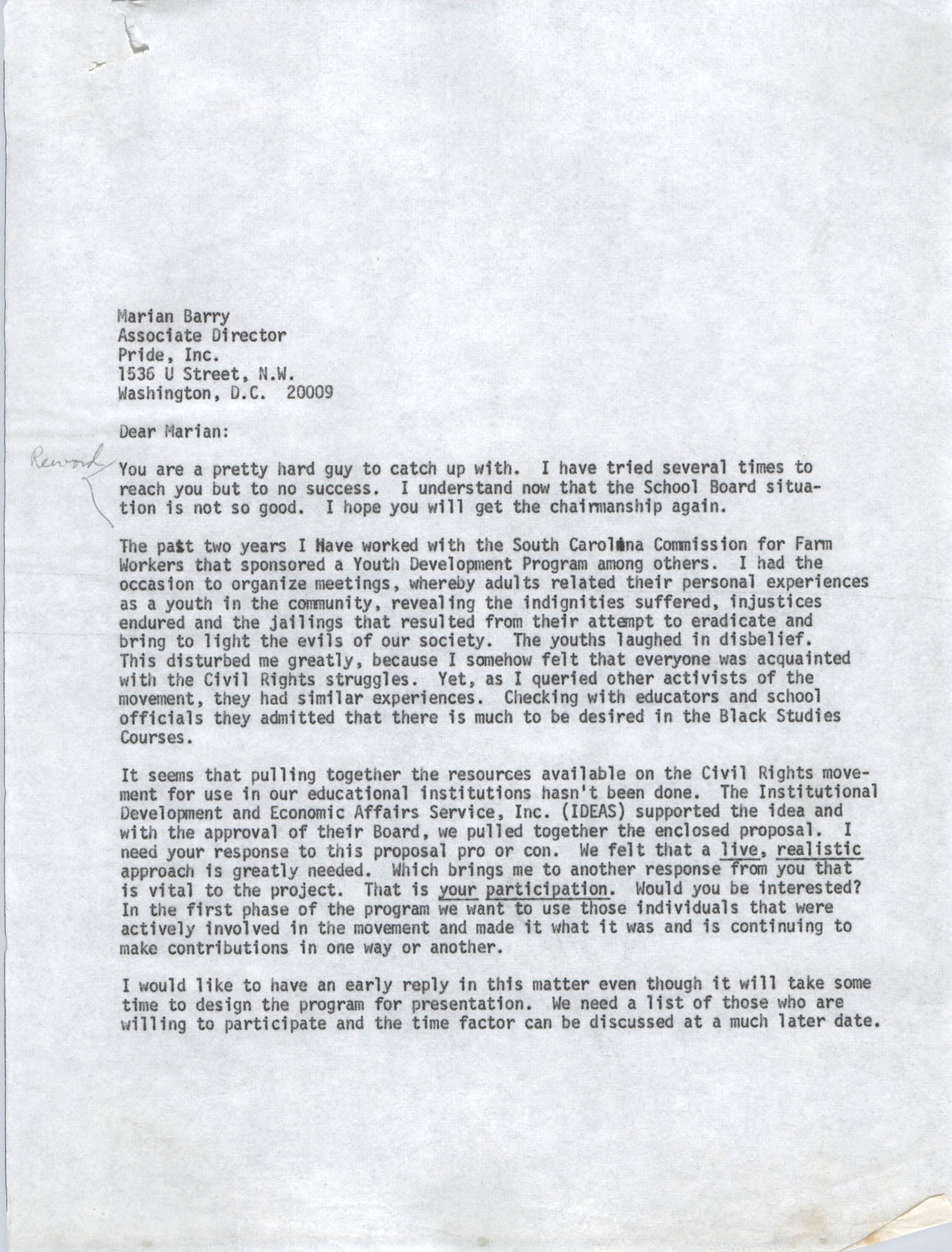 Letter from Bernice Robinson to Marian Berry, May 7, 1973, Draft Page 1