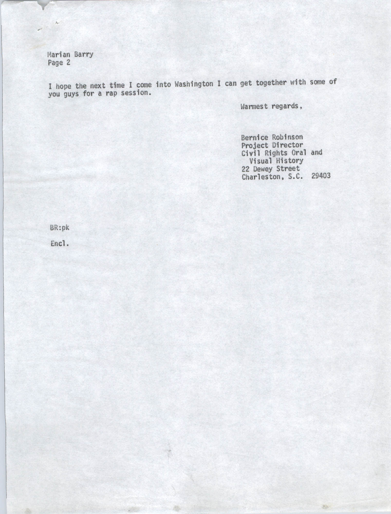 Letter from Bernice Robinson to Marian Berry, May 7, 1973, Draft Page 2