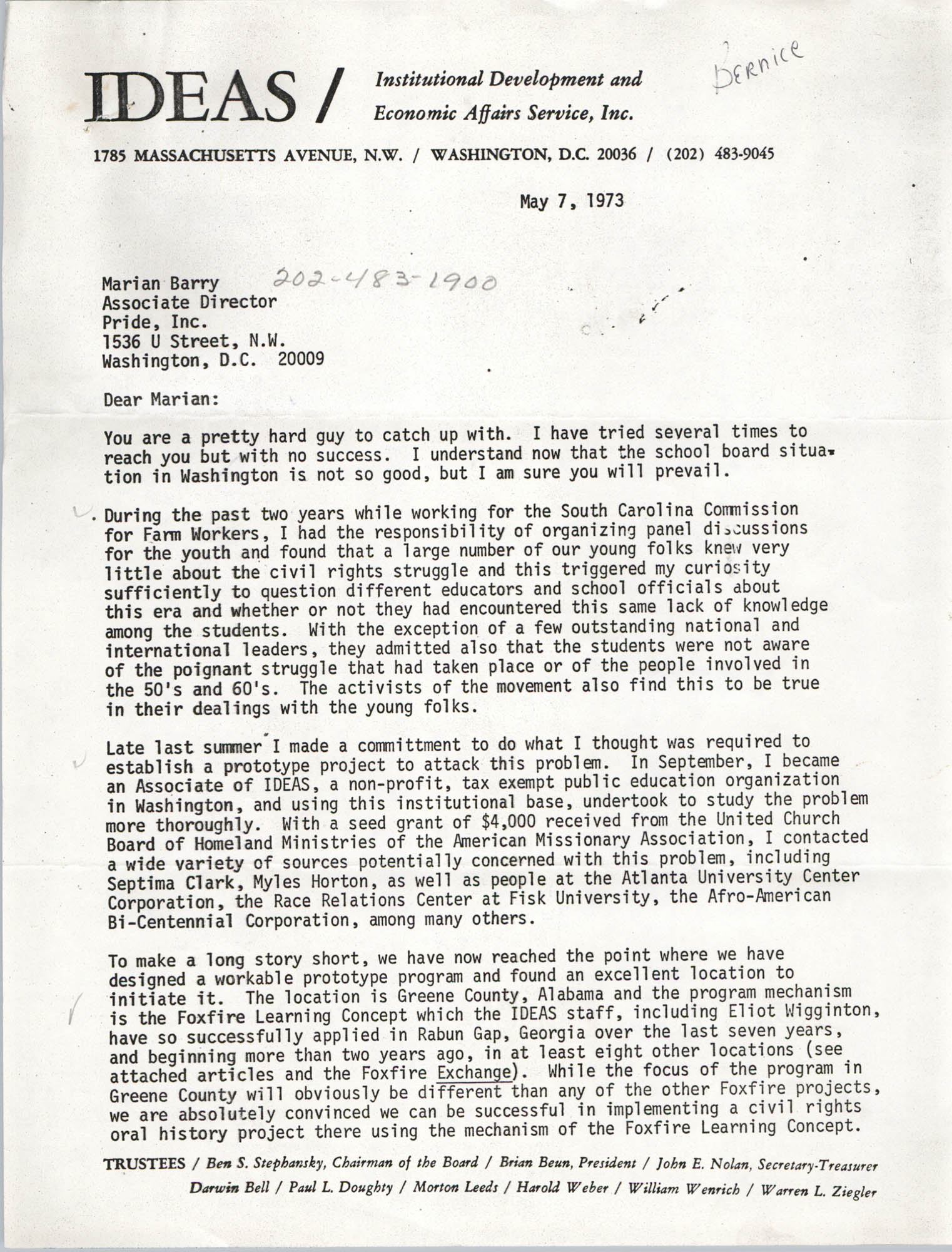 Letter from Bernice Robinson to Marian Berry, May 7, 1973, Page 1