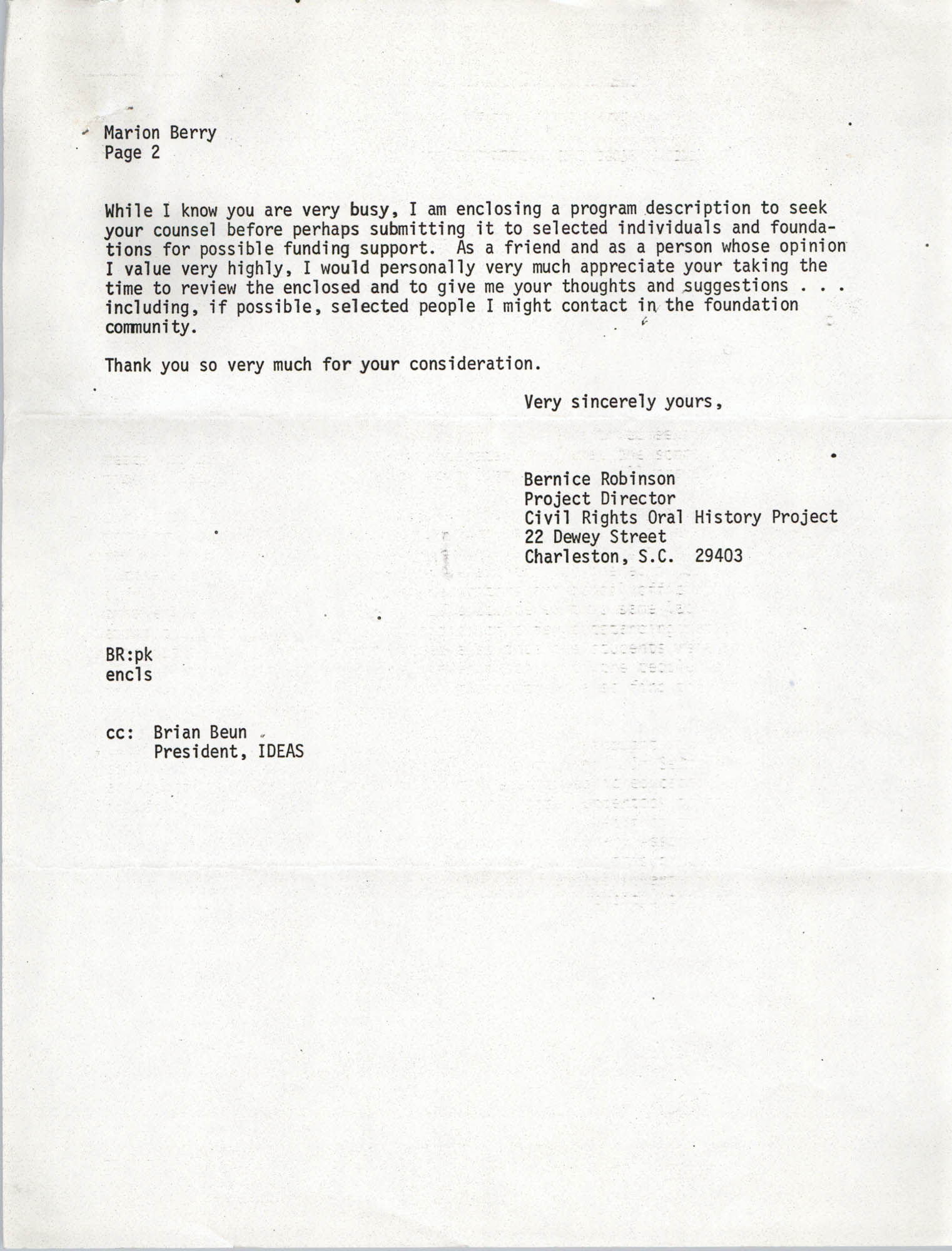 Letter from Bernice Robinson to Marian Berry, May 7, 1973, Page 2