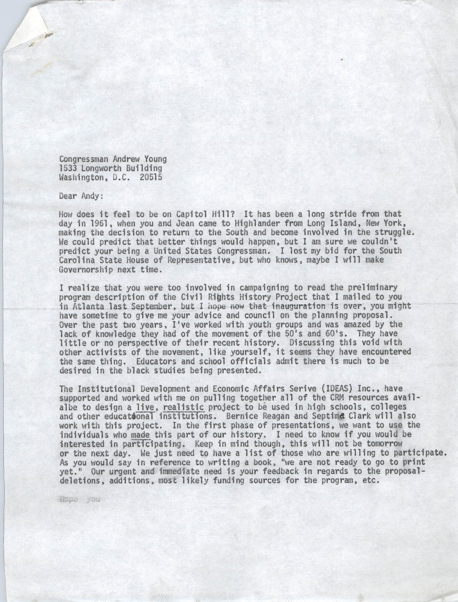 Letter from Bernice Robinson to Andrew Young, May 4, 1973, Draft Page 1