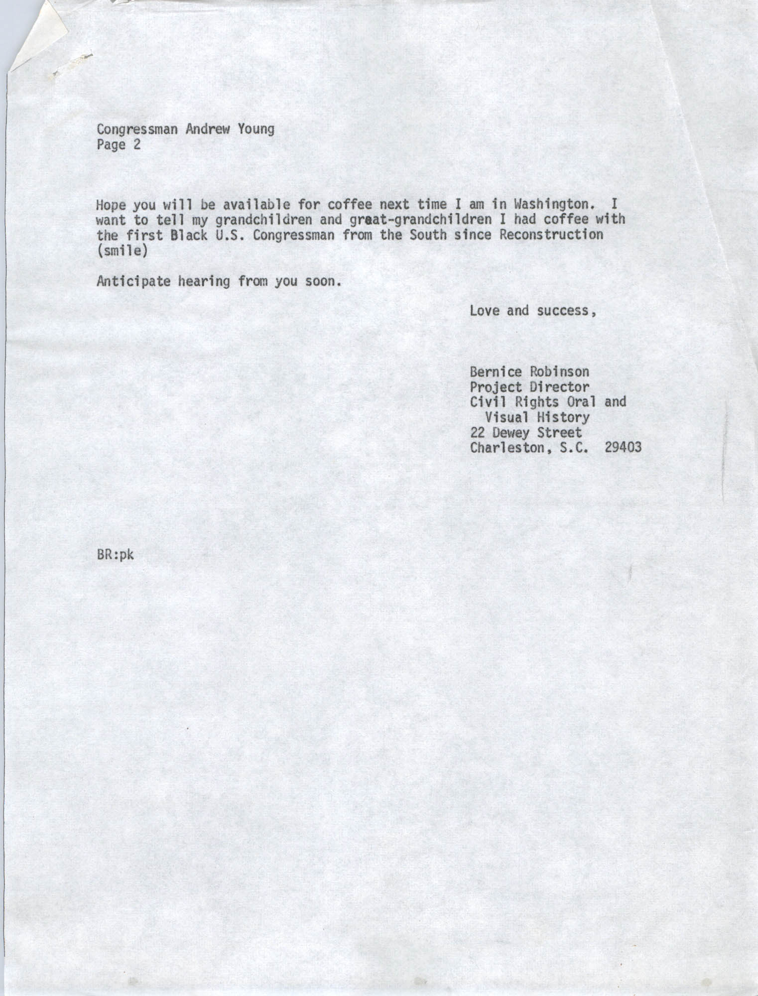 Letter from Bernice Robinson to Andrew Young, May 4, 1973, Draft Page 2