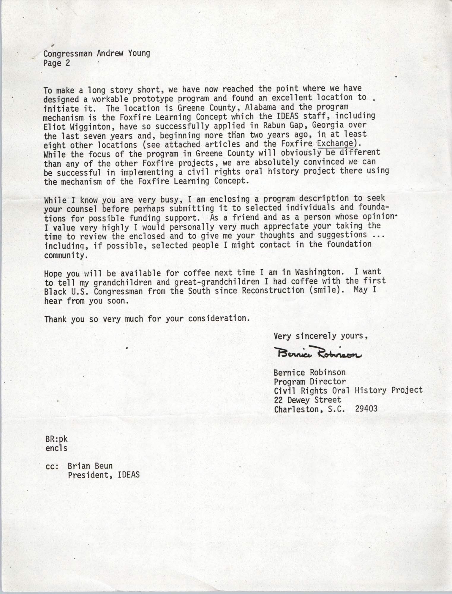 Letter from Bernice Robinson to Andrew Young, May 4, 1973, Page 2