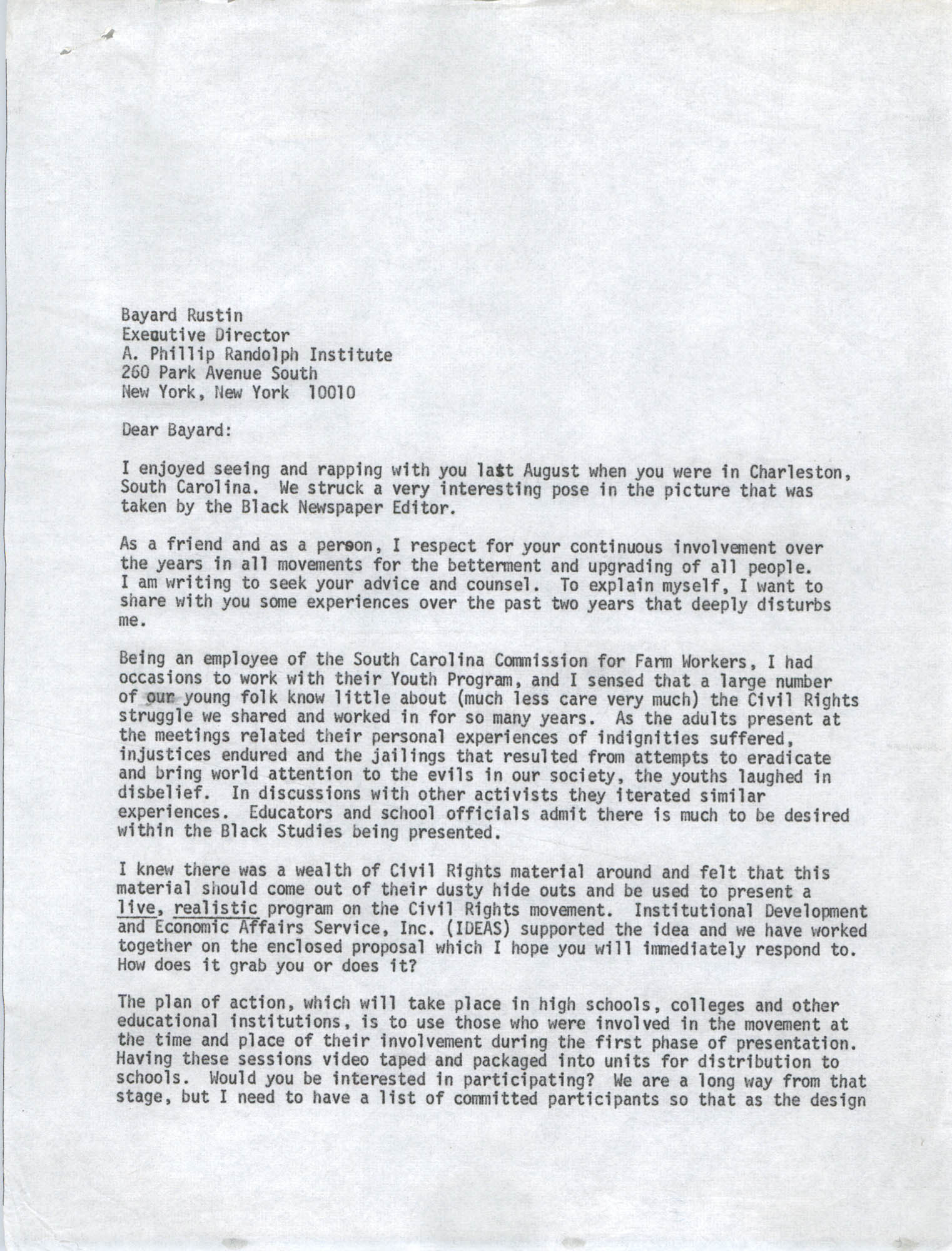 Letter from Bernice Robinson to Bayard Rustin, May 8, 1973, Draft Page 1