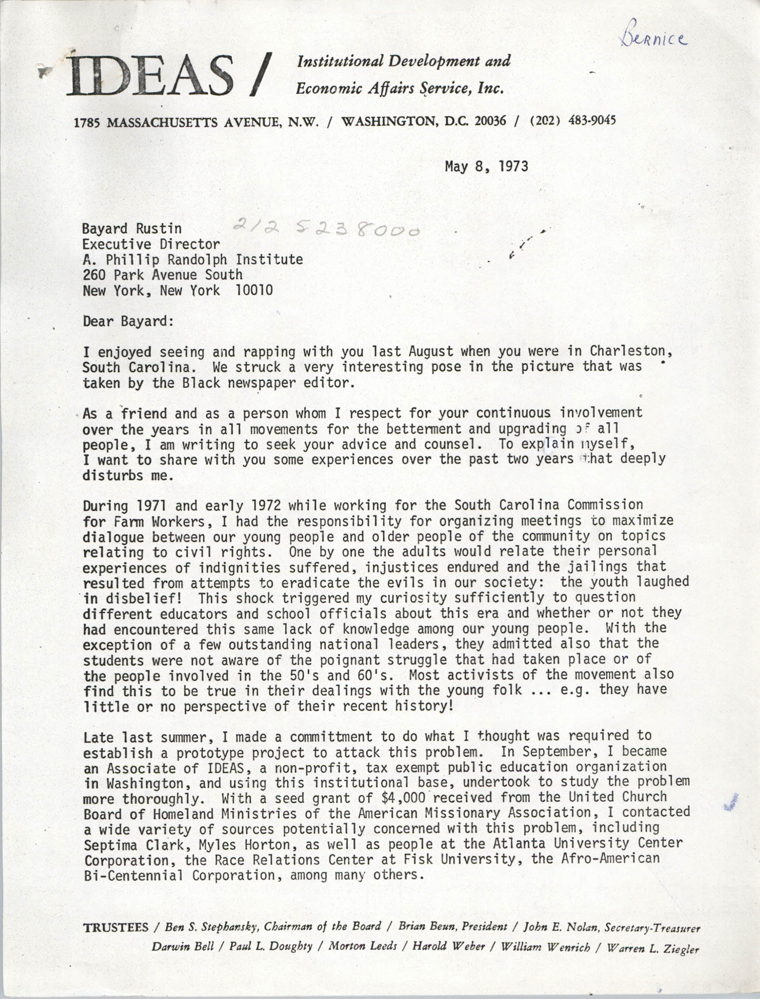Letter from Bernice Robinson to Bayard Rustin, May 8, 1973, Page 1