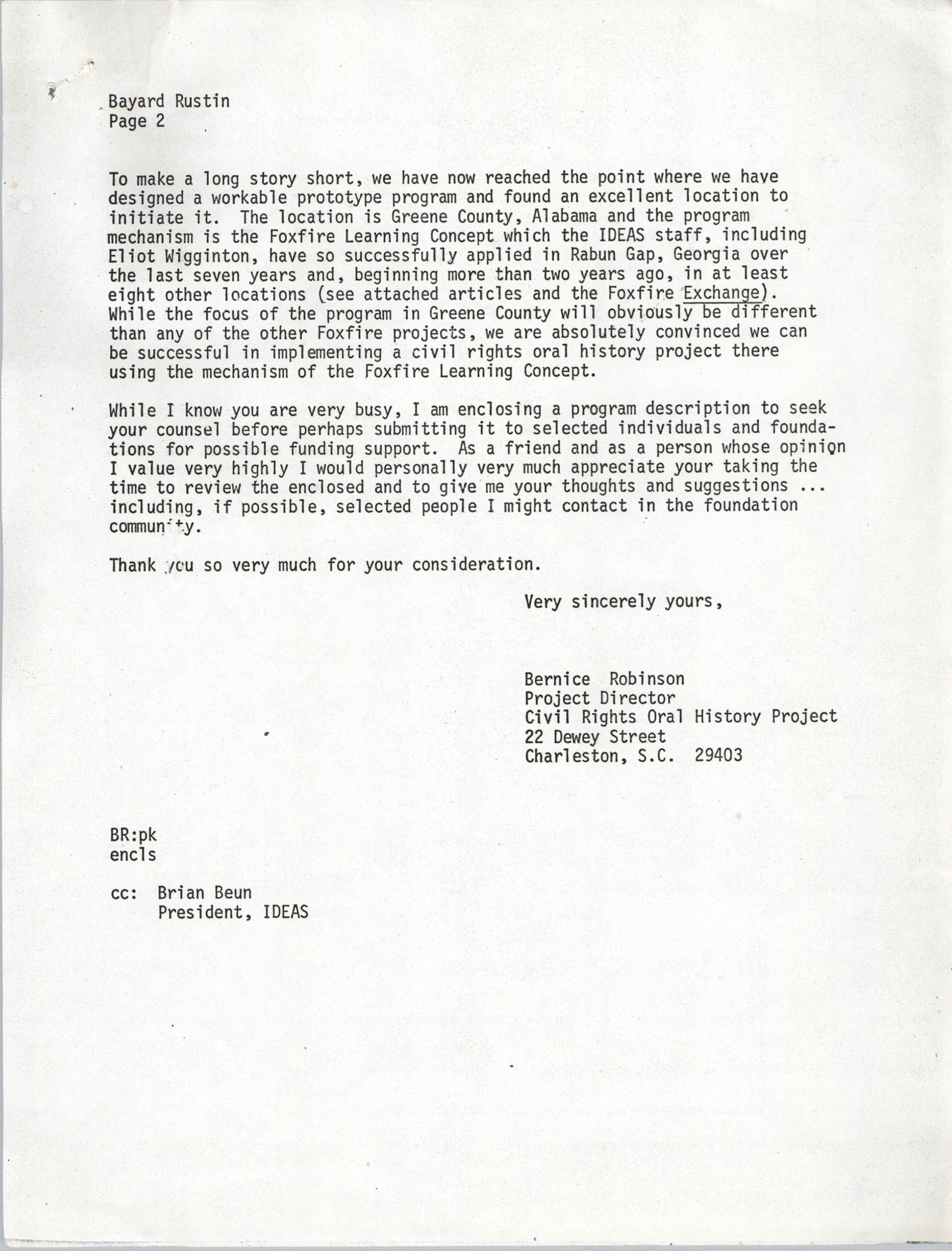 Letter from Bernice Robinson to Bayard Rustin, May 8, 1973, Page 2