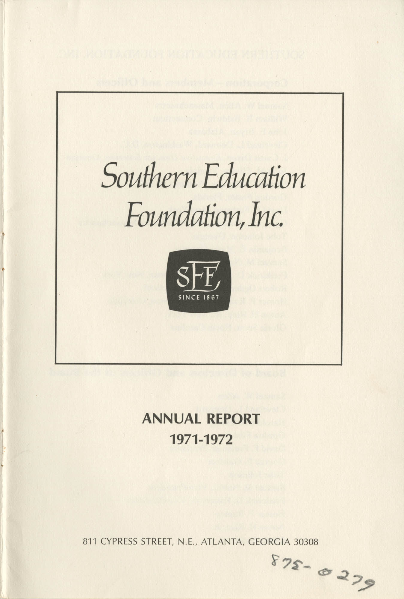 Southern Education Foundation, Annual Report 1971-1972, Title Page