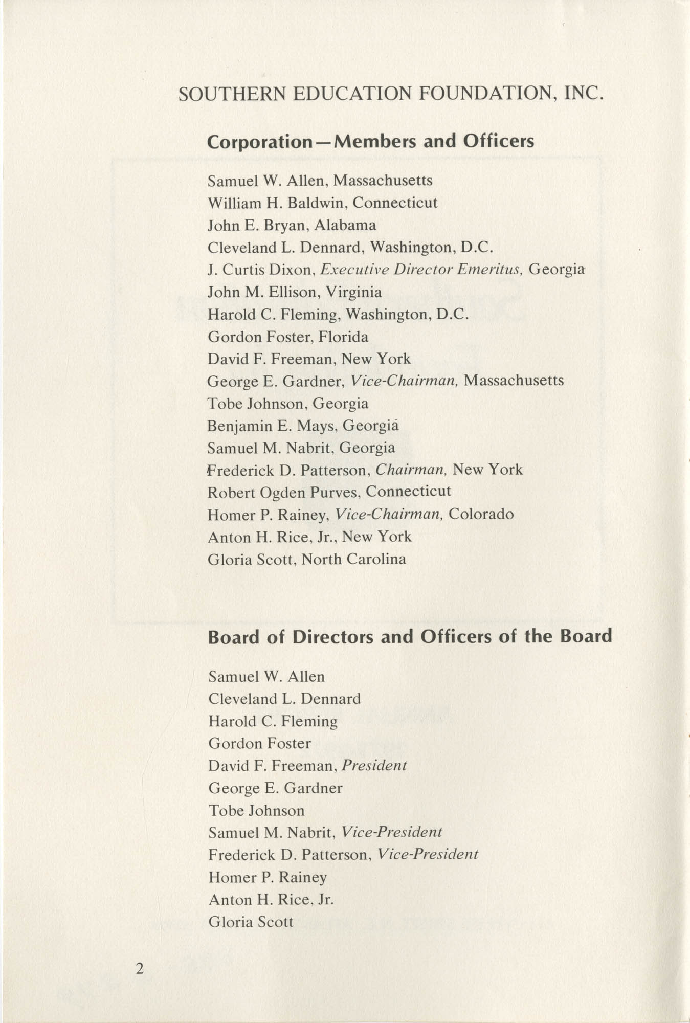 Southern Education Foundation, Annual Report 1971-1972, Page 2