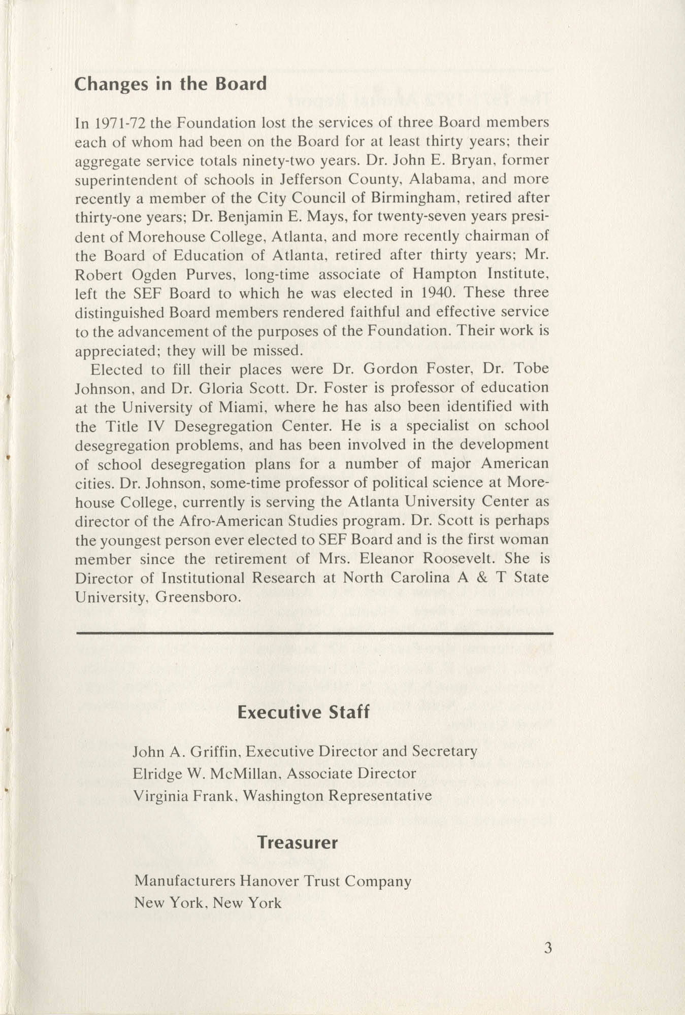 Southern Education Foundation, Annual Report 1971-1972, Page 3
