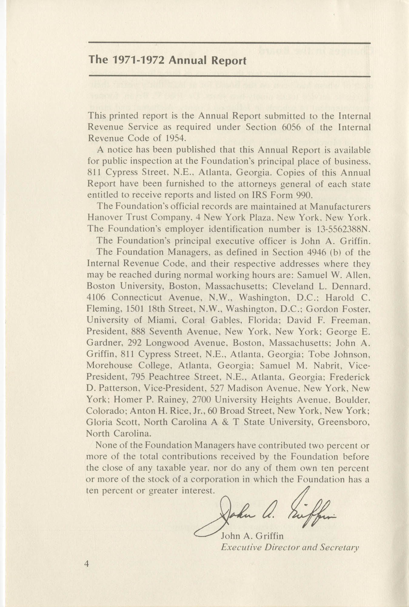 Southern Education Foundation, Annual Report 1971-1972, Page 4