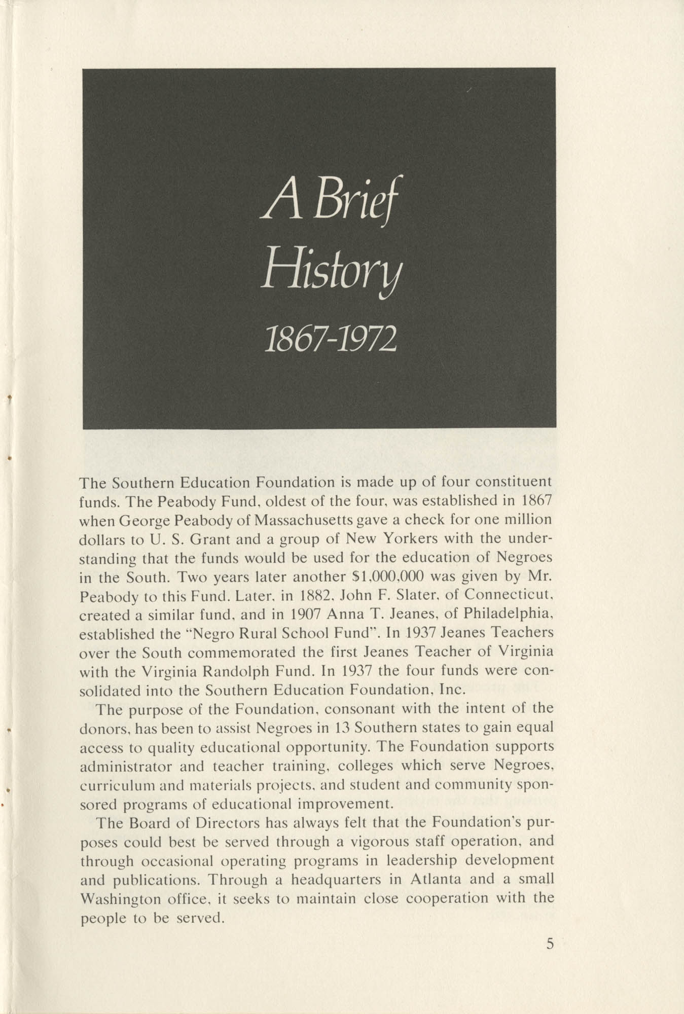 Southern Education Foundation, Annual Report 1971-1972, Page 5