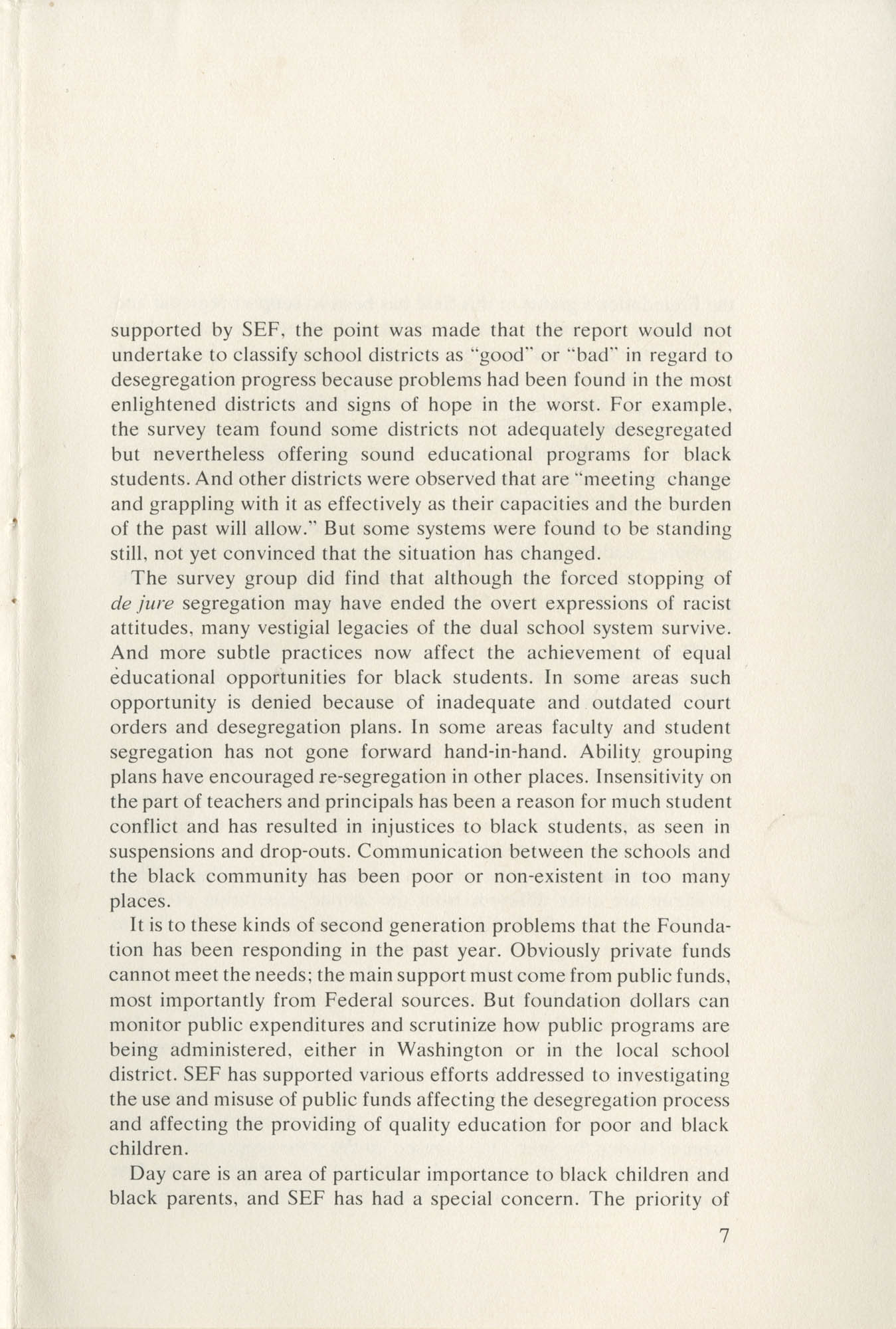 Southern Education Foundation, Annual Report 1971-1972, Page 7