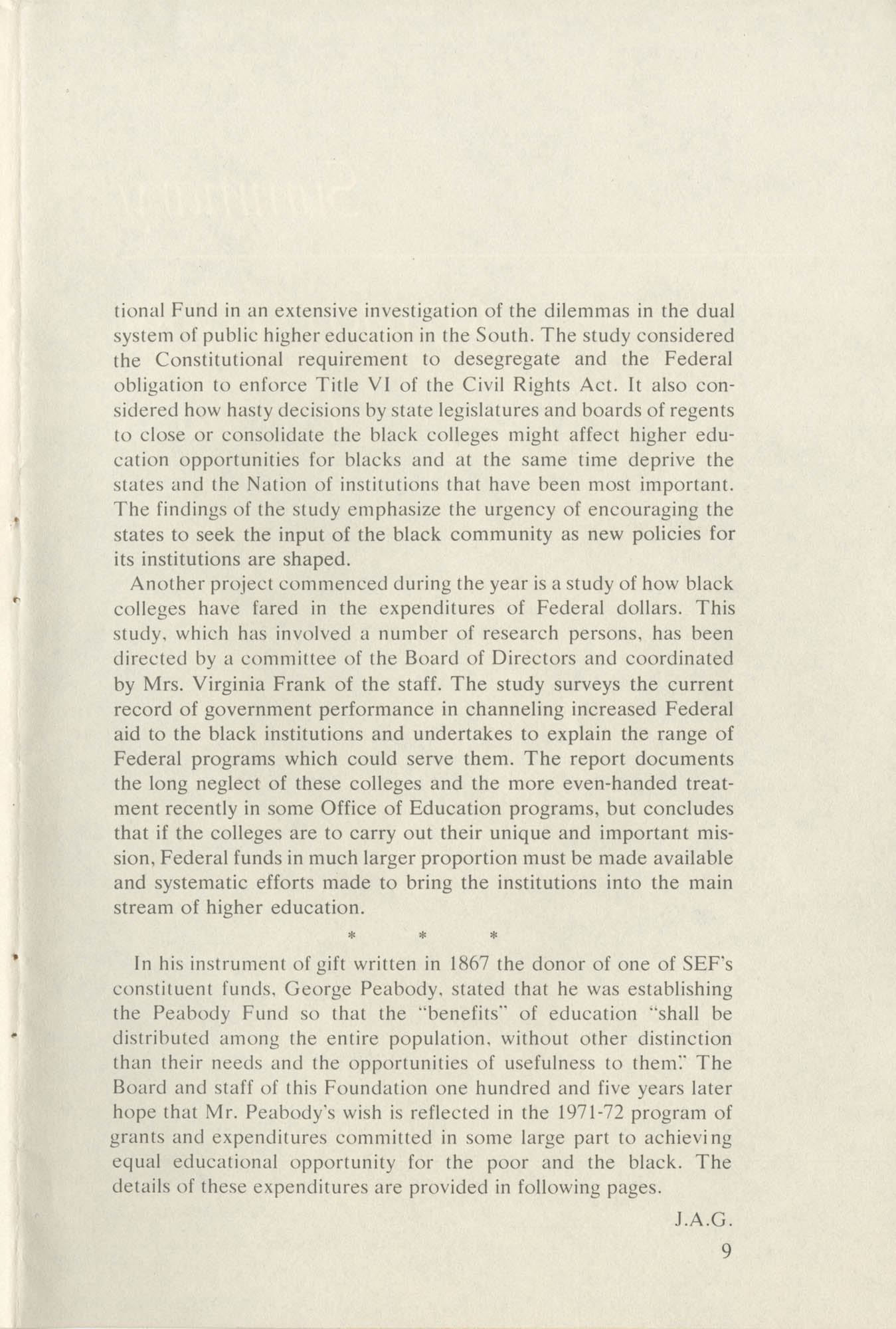 Southern Education Foundation, Annual Report 1971-1972, Page 9