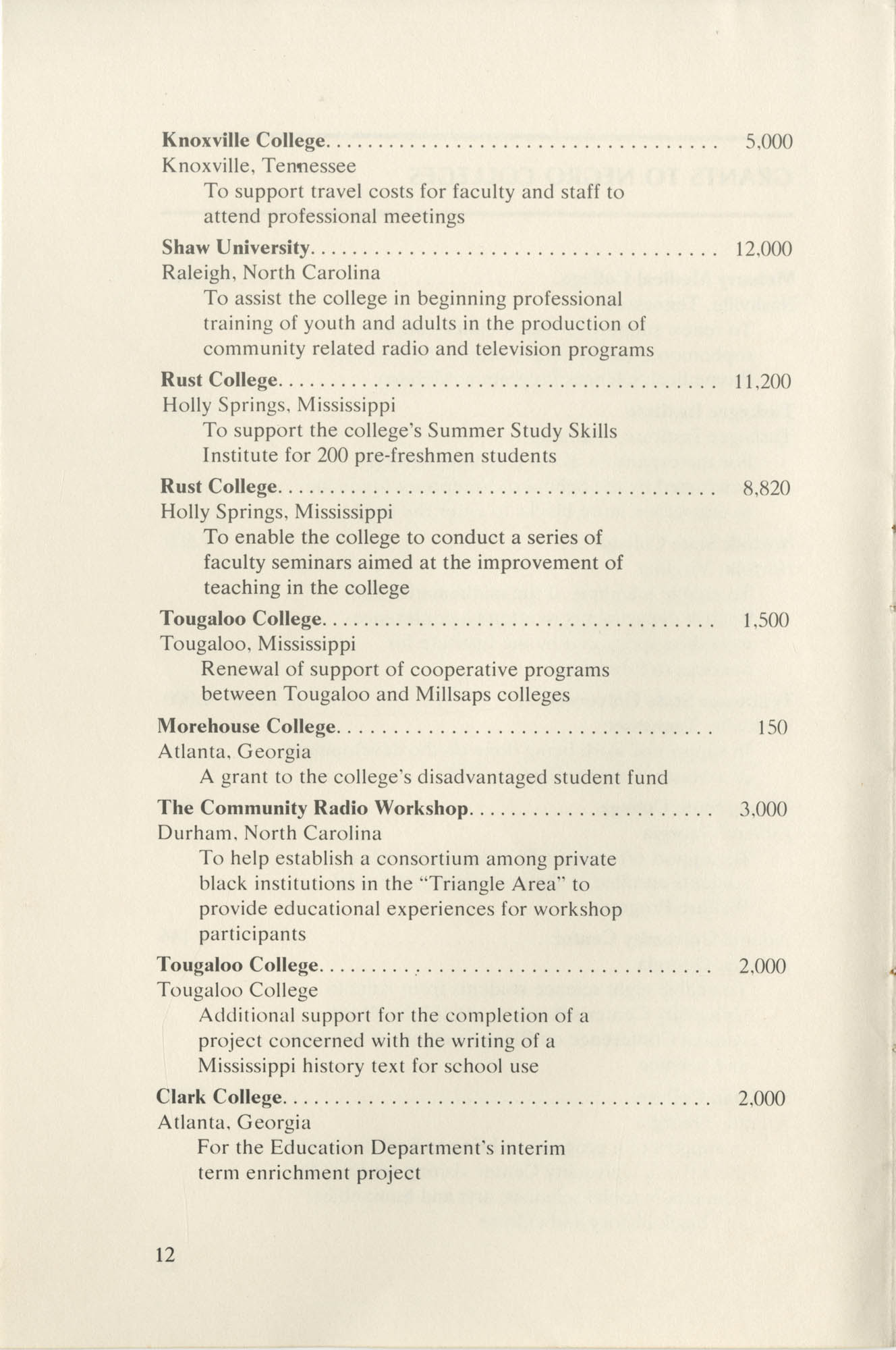 Southern Education Foundation, Annual Report 1971-1972, Page 12