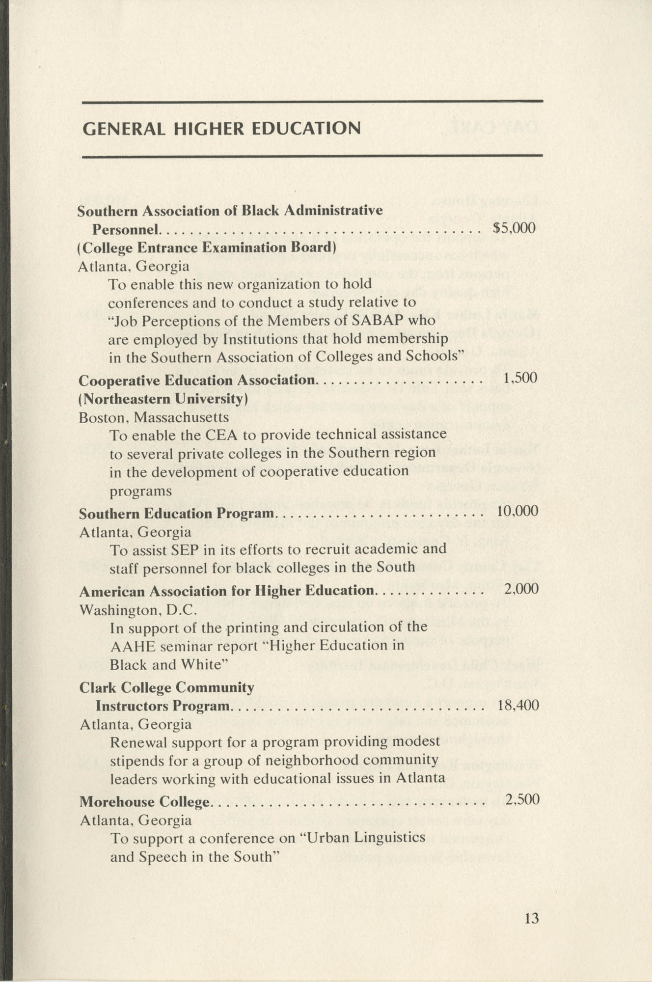 Southern Education Foundation, Annual Report 1971-1972, Page 13