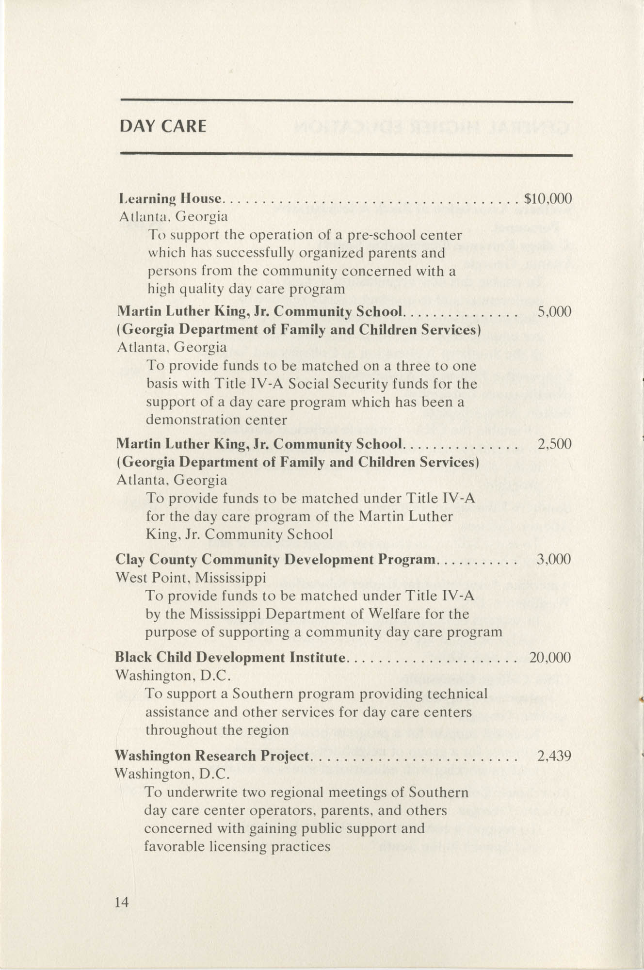 Southern Education Foundation, Annual Report 1971-1972, Page 14