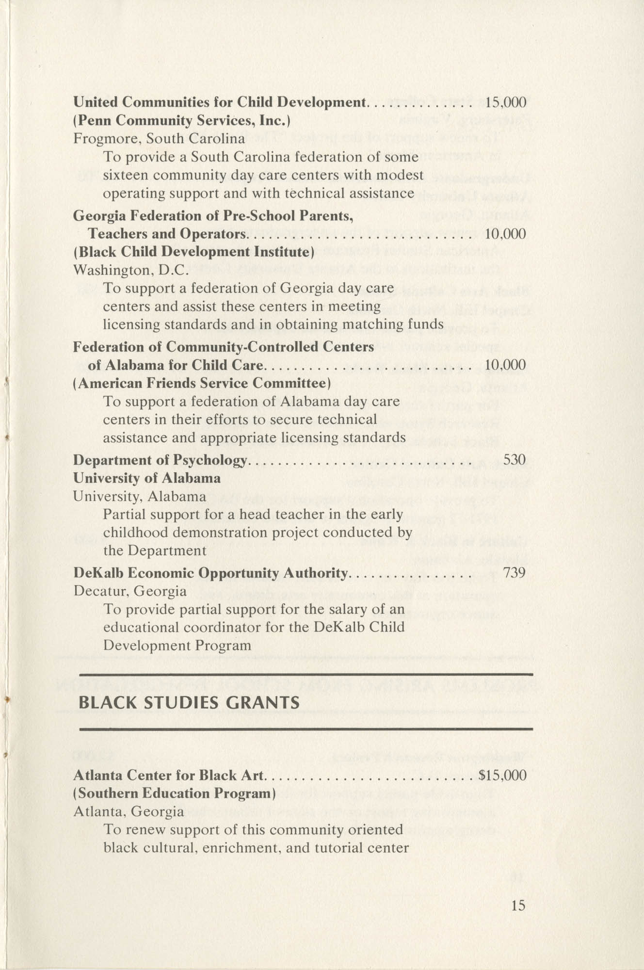 Southern Education Foundation, Annual Report 1971-1972, Page 15