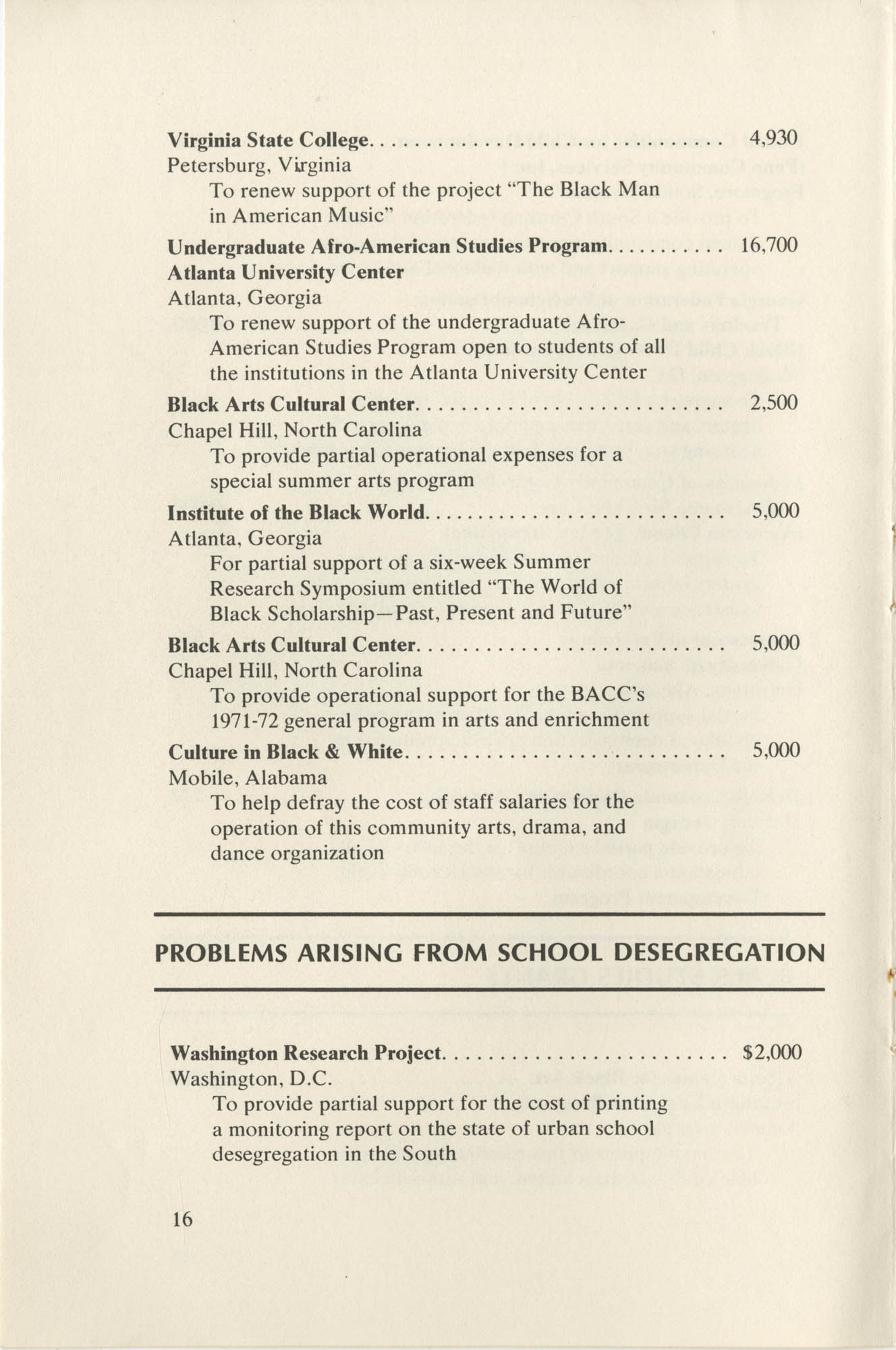 Southern Education Foundation, Annual Report 1971-1972, Page 16