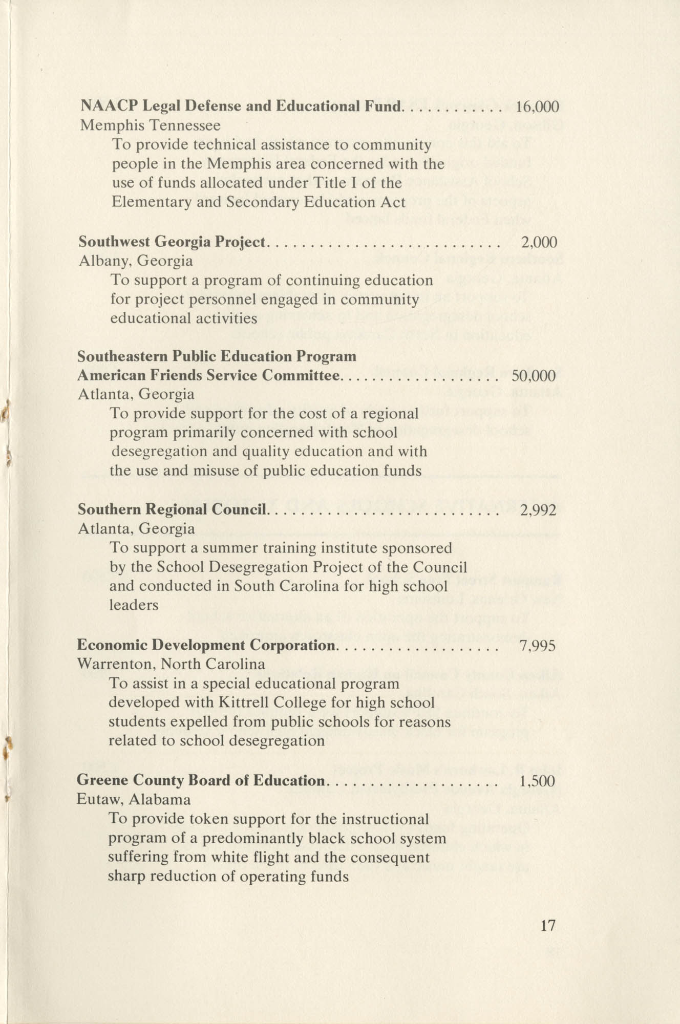 Southern Education Foundation, Annual Report 1971-1972, Page 17