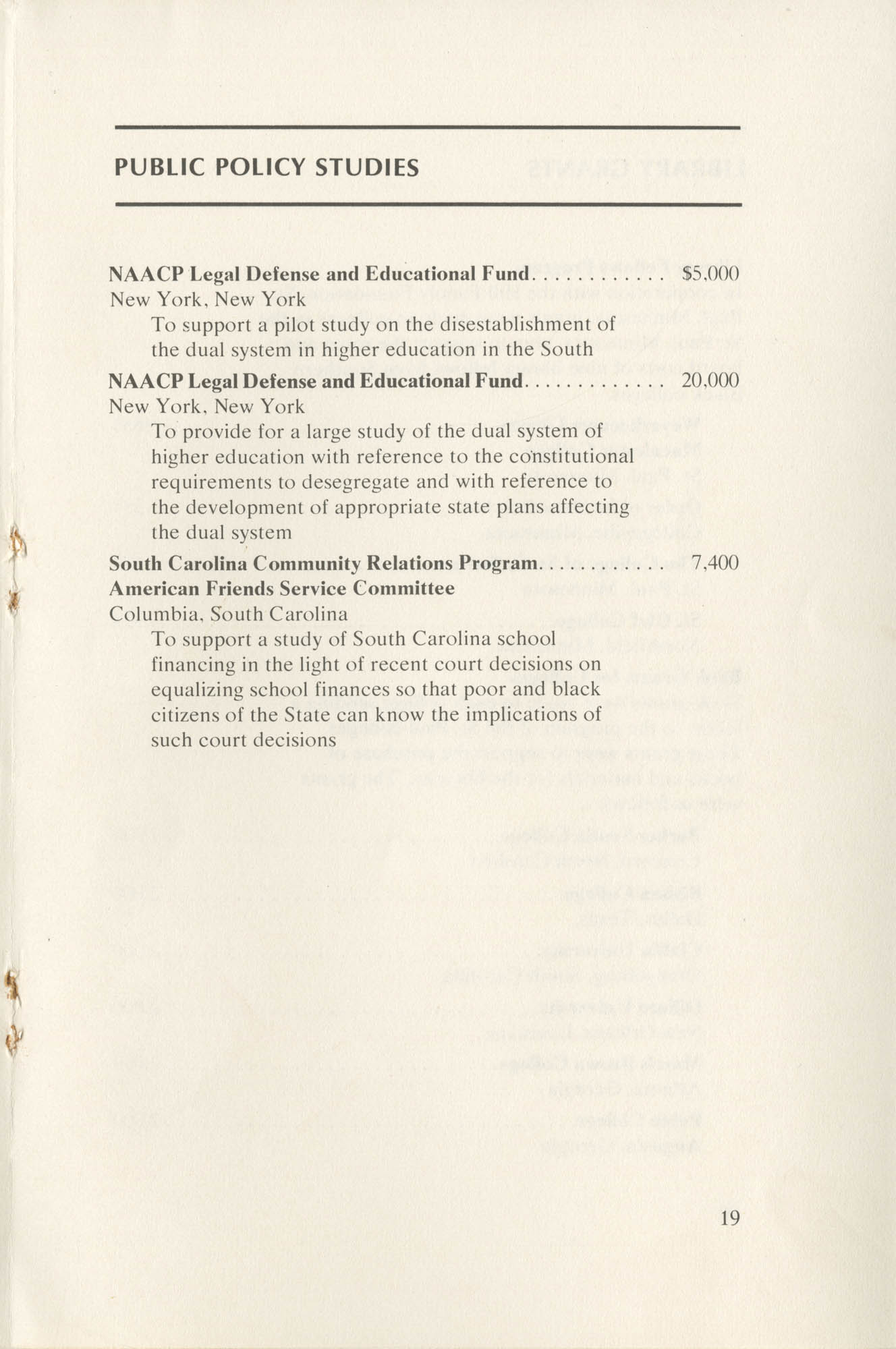 Southern Education Foundation, Annual Report 1971-1972, Page 19