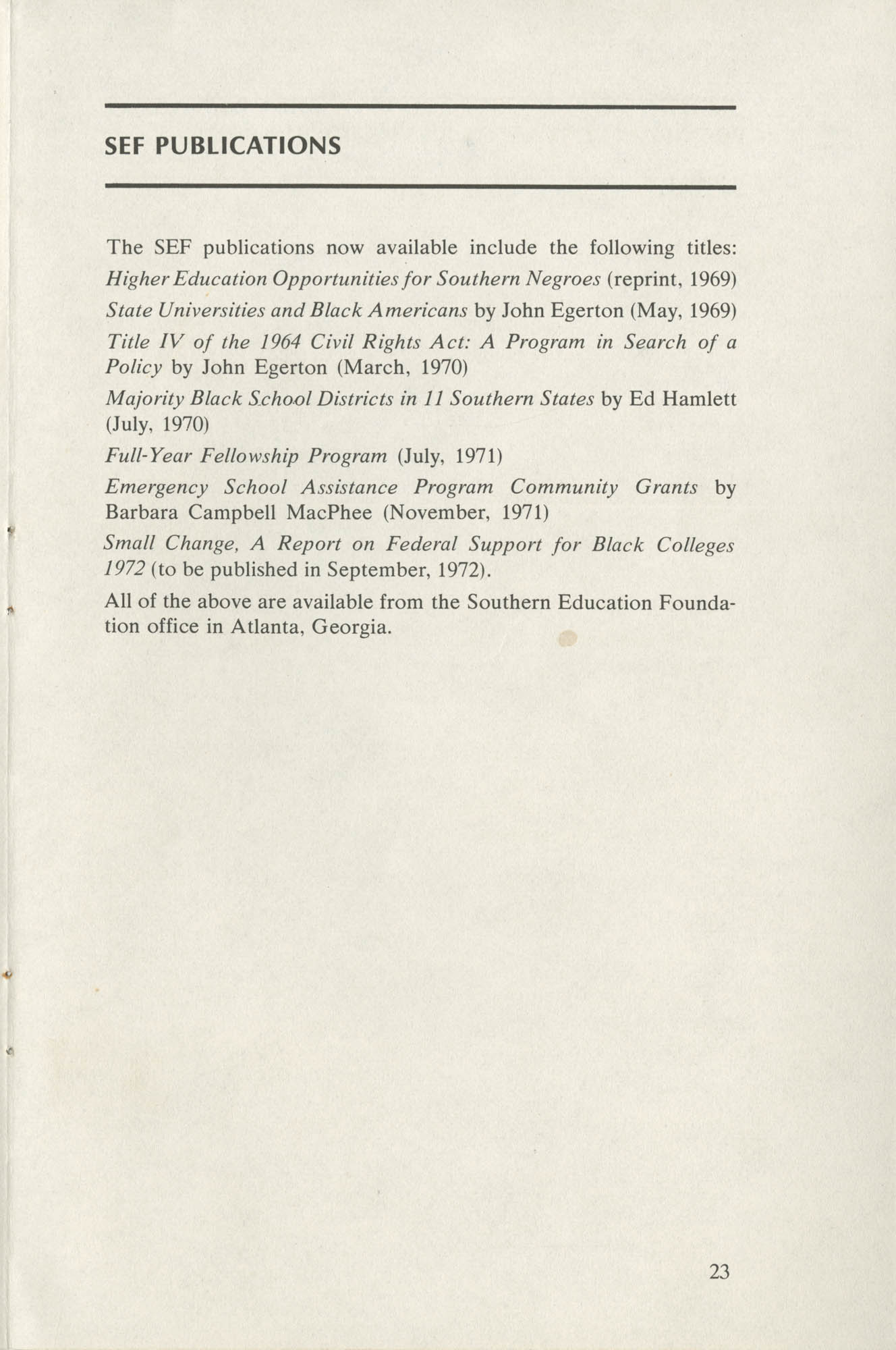 Southern Education Foundation, Annual Report 1971-1972, Page 23
