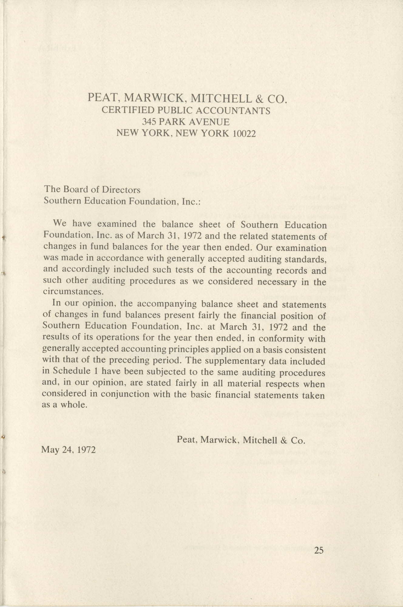 Southern Education Foundation, Annual Report 1971-1972, Page 25