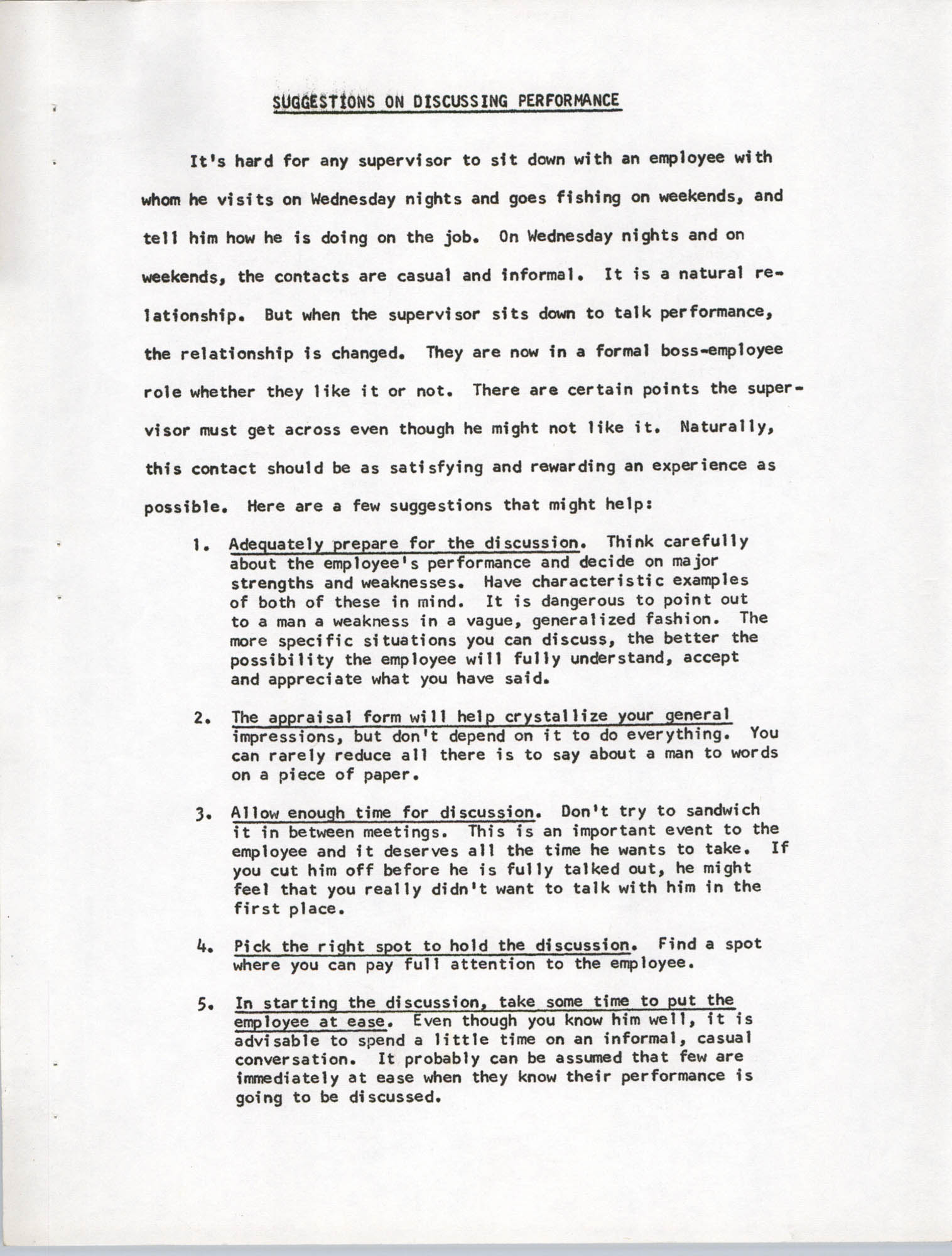 Supervisor Handbook, Selections, Page 1