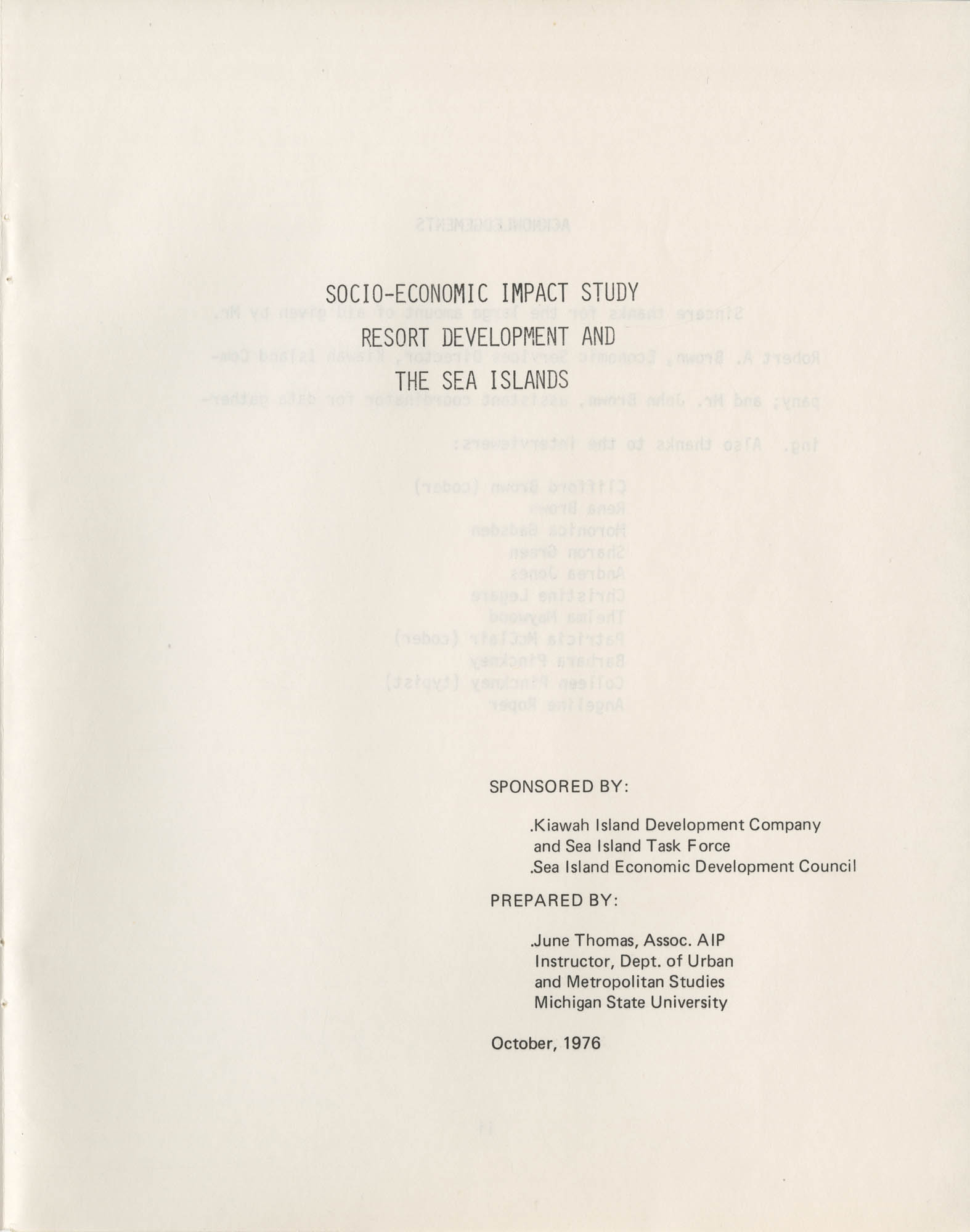Socio-Economic Impact Study Resort Development and the Sea Islands, Title Page