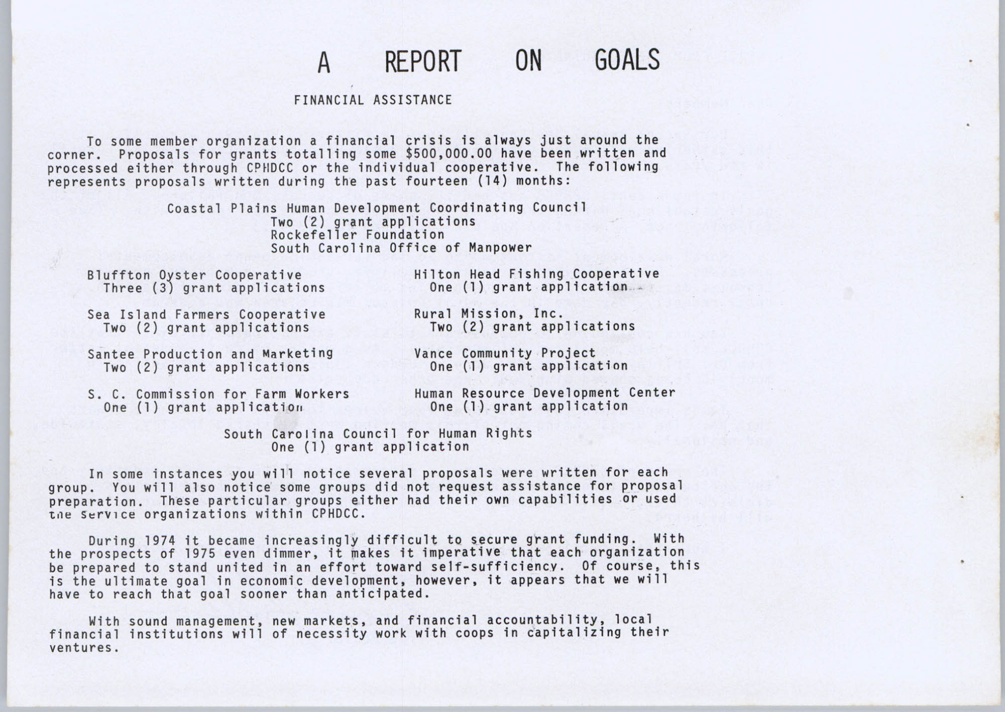 Coastal Plains Human Development Coordinating Council, 1974 Annual Report, Page 4