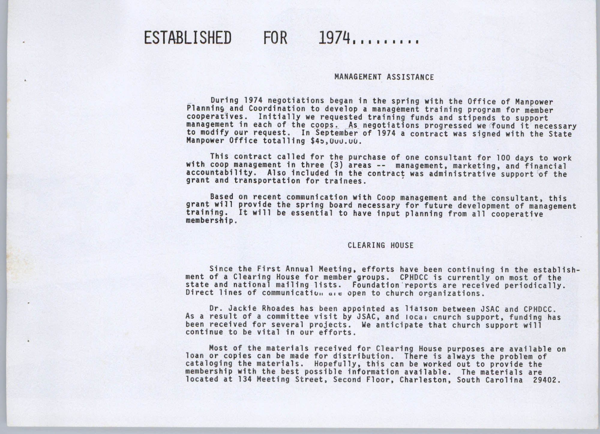 Coastal Plains Human Development Coordinating Council, 1974 Annual Report, Page 5