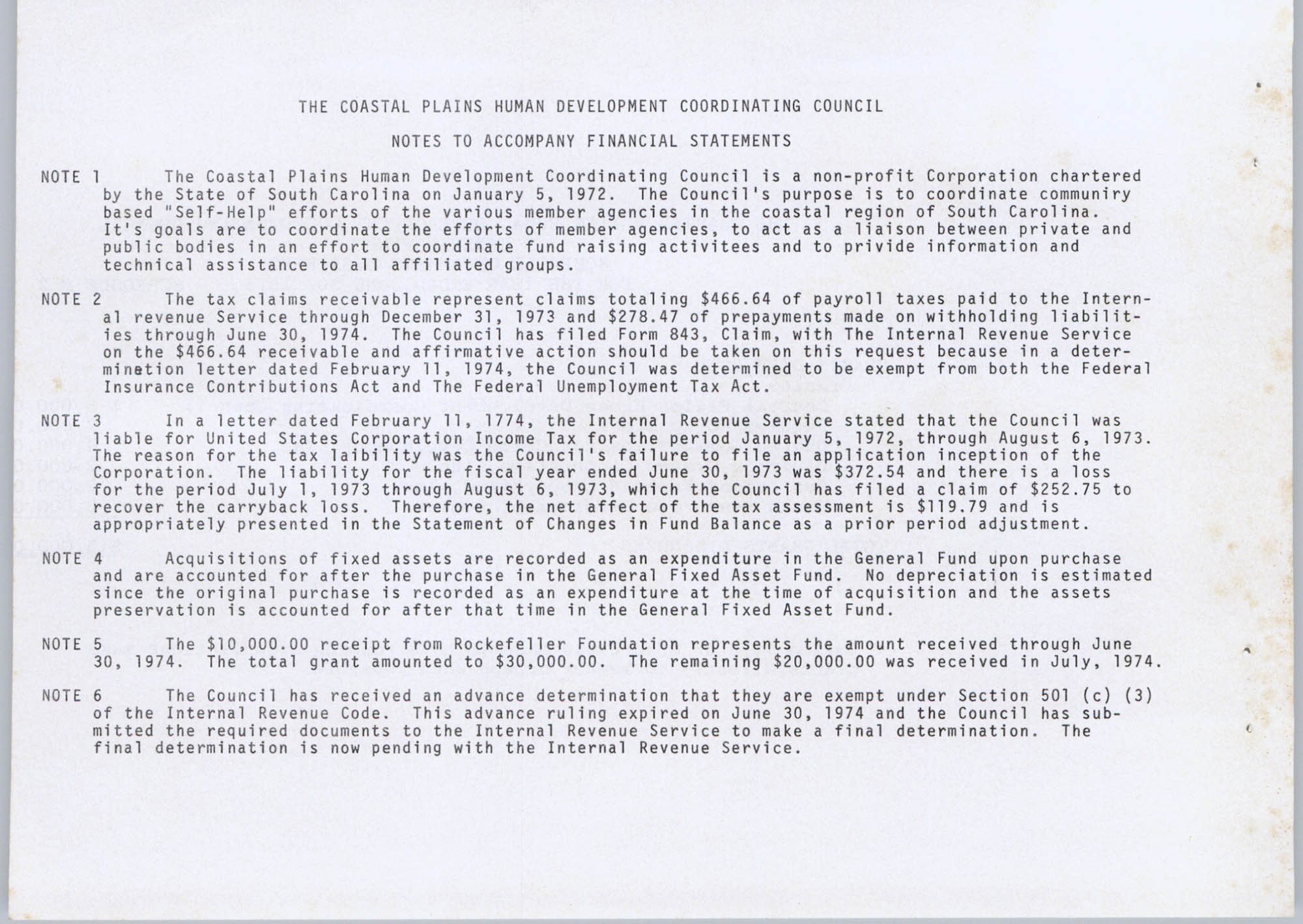 Coastal Plains Human Development Coordinating Council, 1974 Annual Report, Page 22