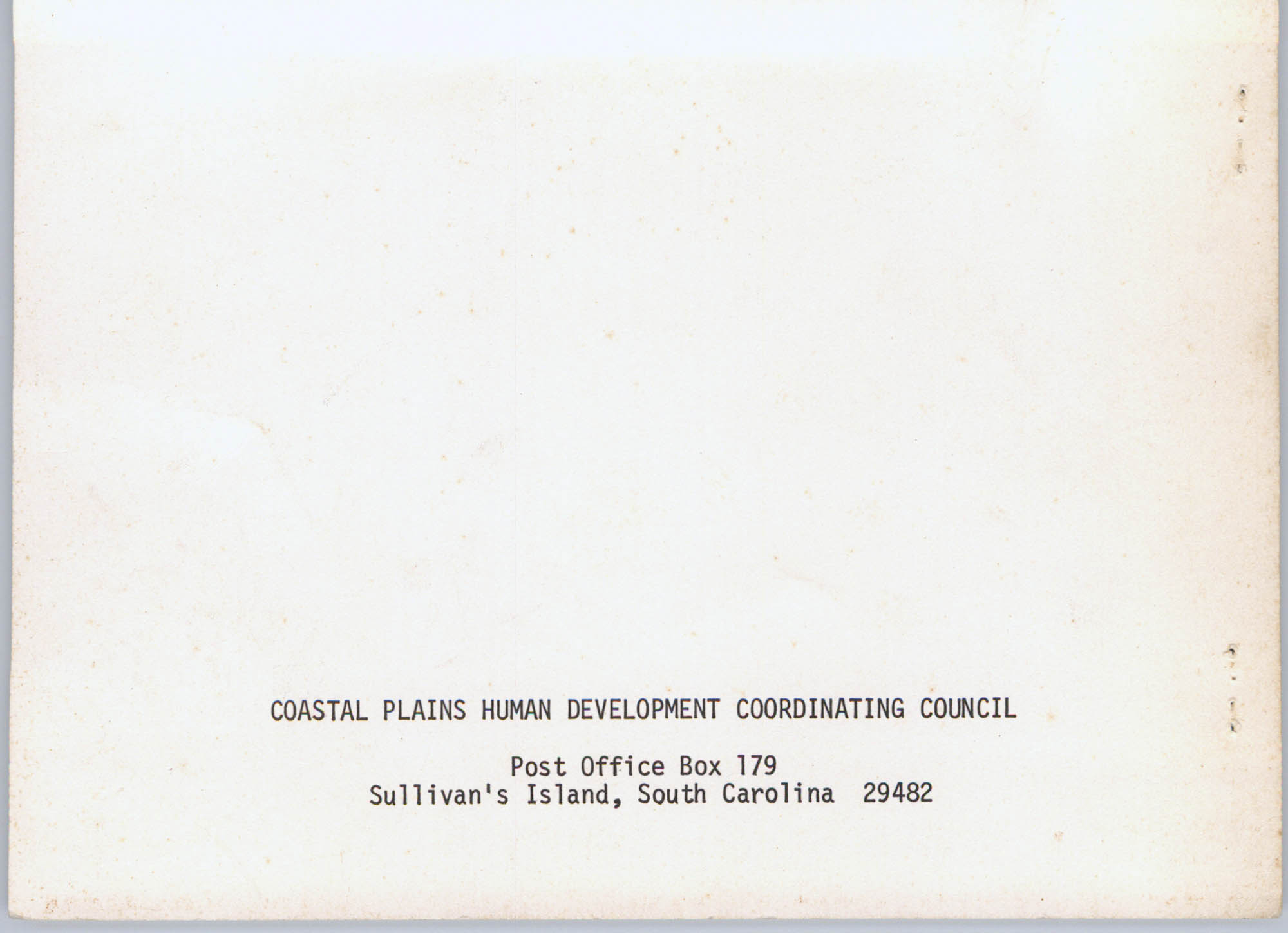 Coastal Plains Human Development Coordinating Council, 1974 Annual Report, Back Cover Exterior