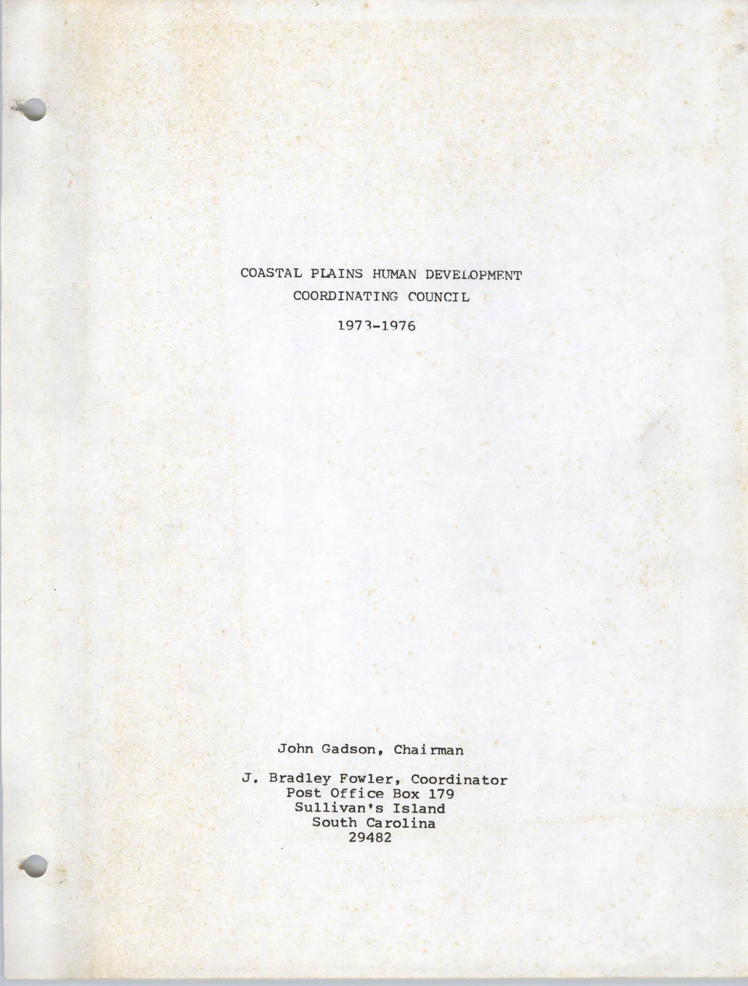 Coastal Plains Human Development Coordinate Council, Cover Page