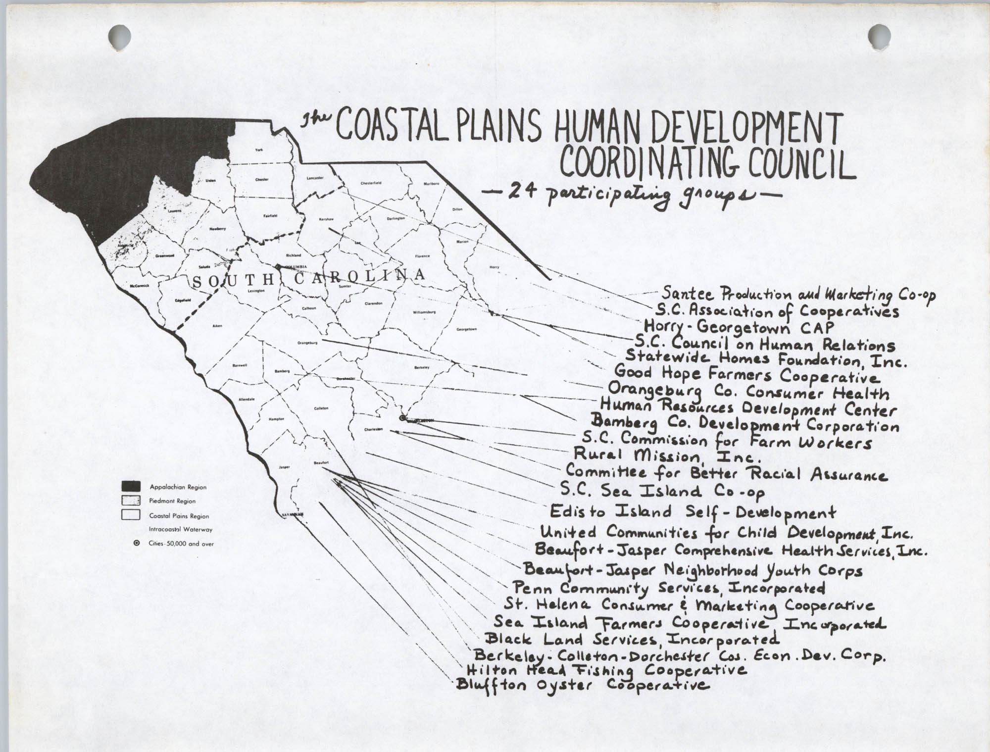 Coastal Plains Human Development Coordinate Council, S. C. Map