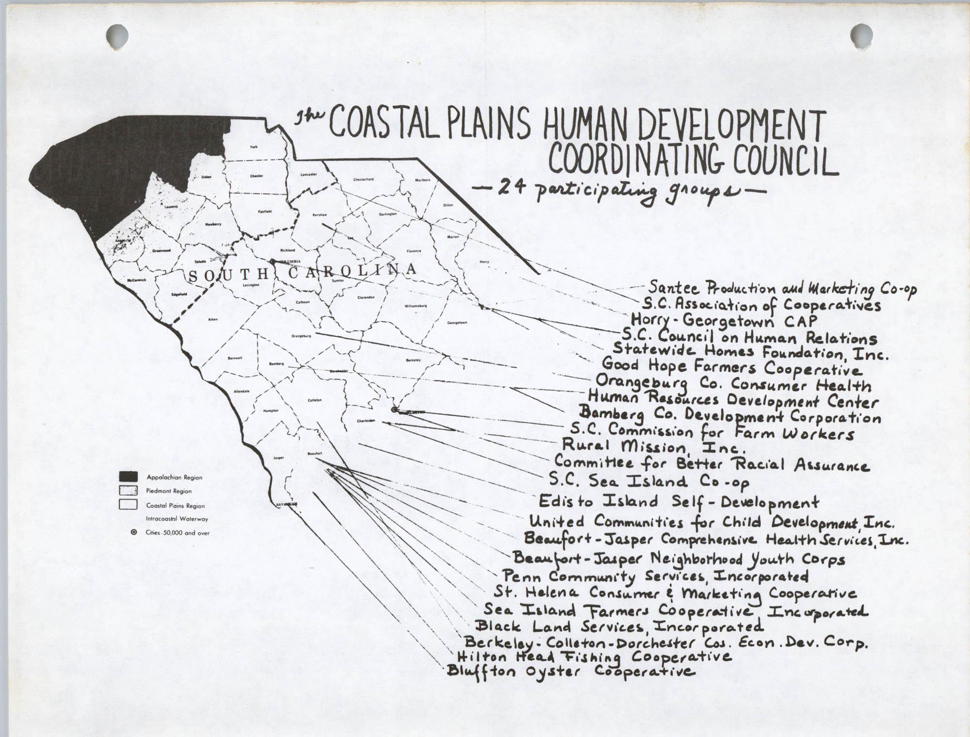 Coastal Plains Human Development Coordinate Council, S. C. Map