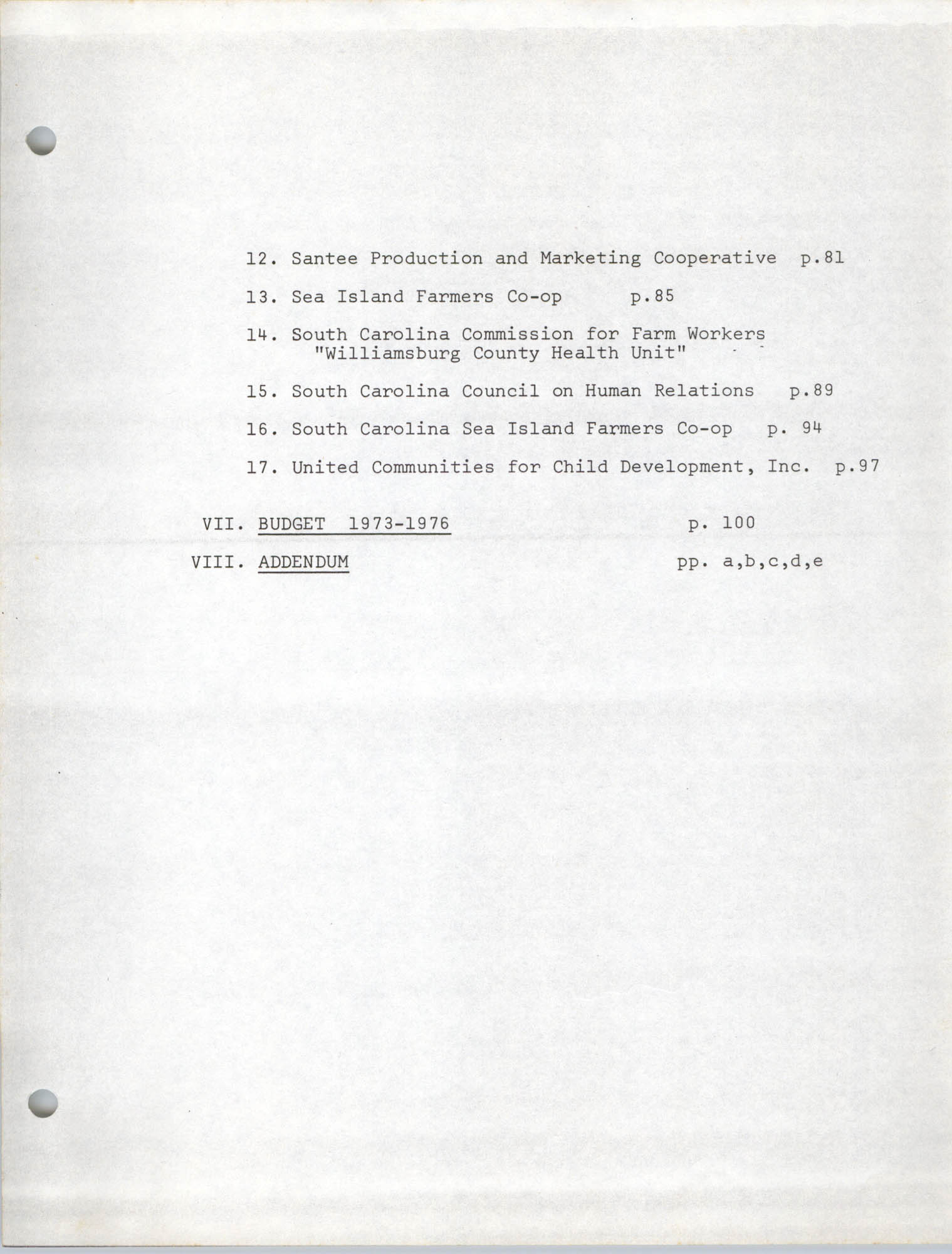 Coastal Plains Human Development Coordinate Council, Table of Contents Page 2