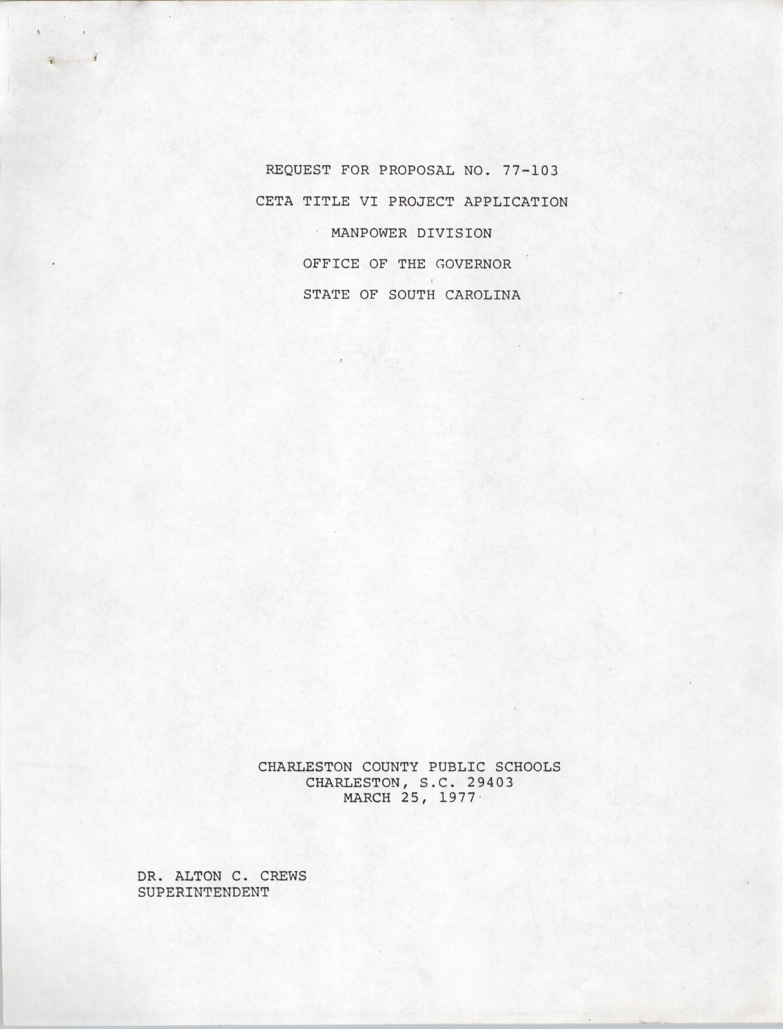 Request for Proposal No. 77-103, Title Page