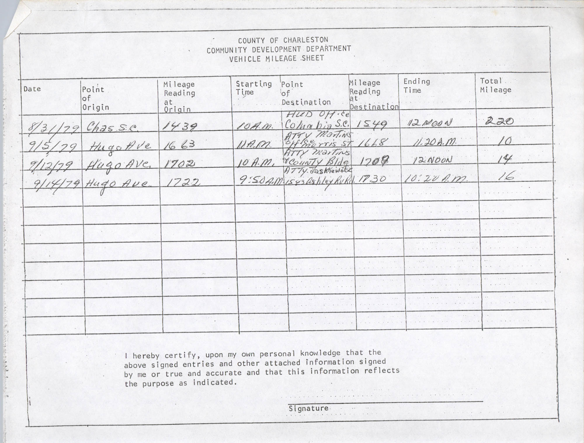 Community Development Department Vehicle Mileage Sheet, Page 6